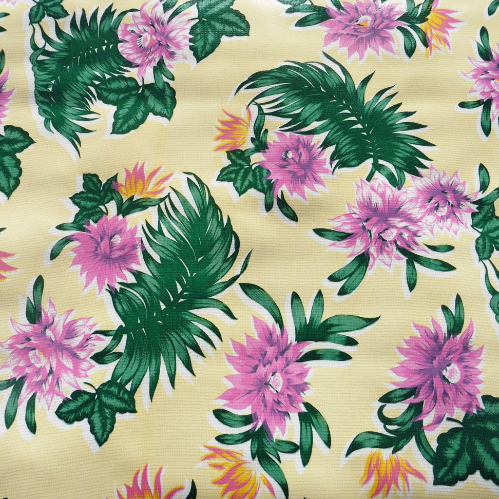 Tropical Fern and Flower Print Oilcloth