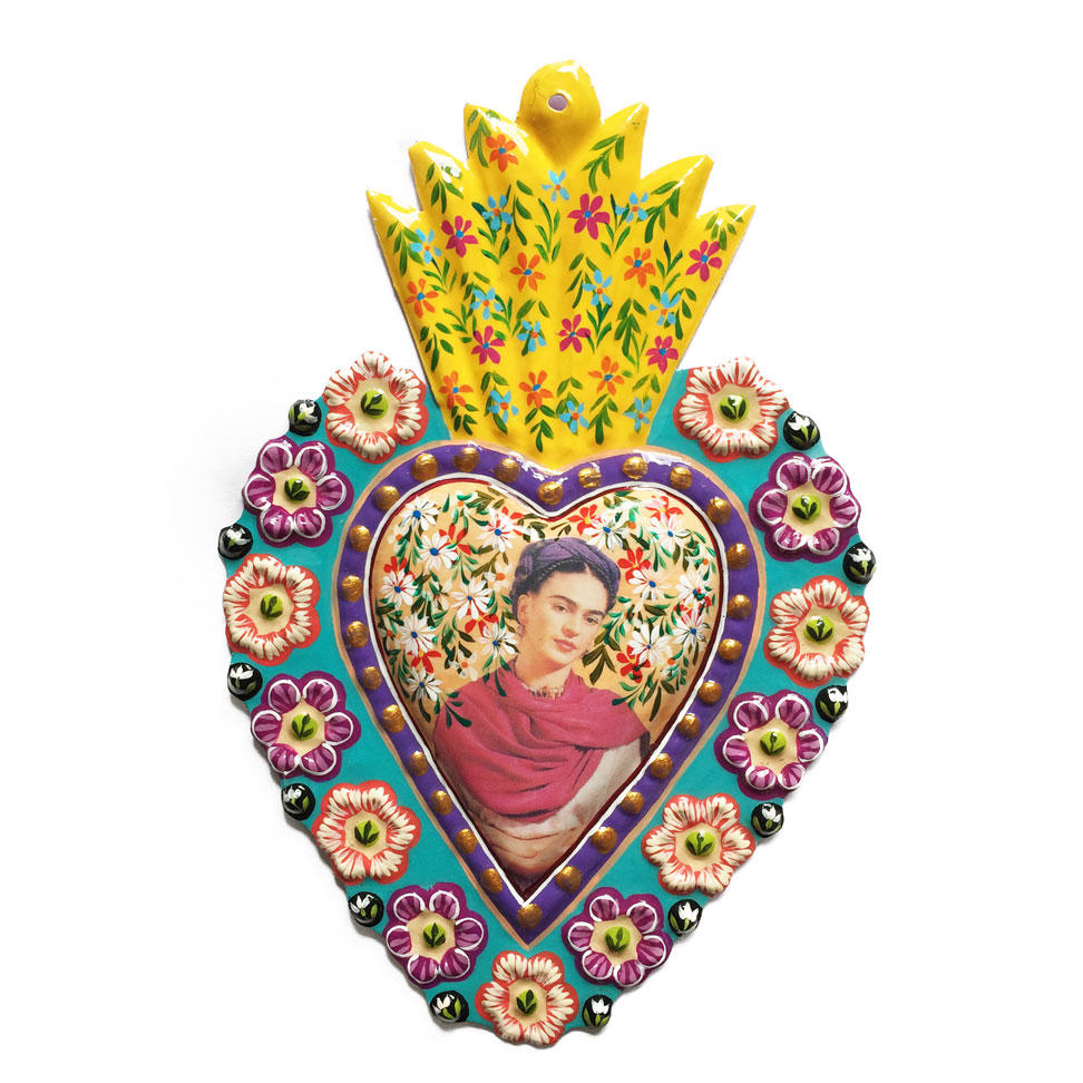 Frida Kahlo Handpainted Tin Heart