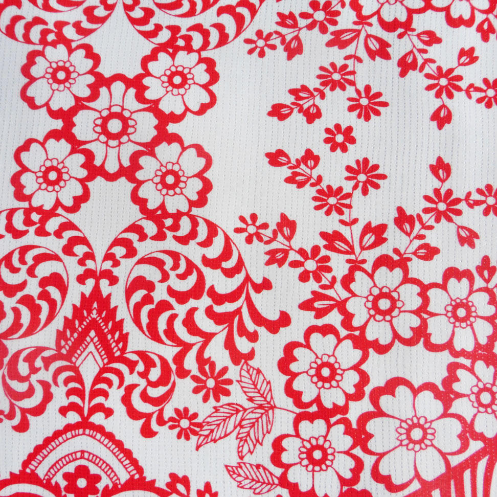 Red Lace Print Oilcloth
