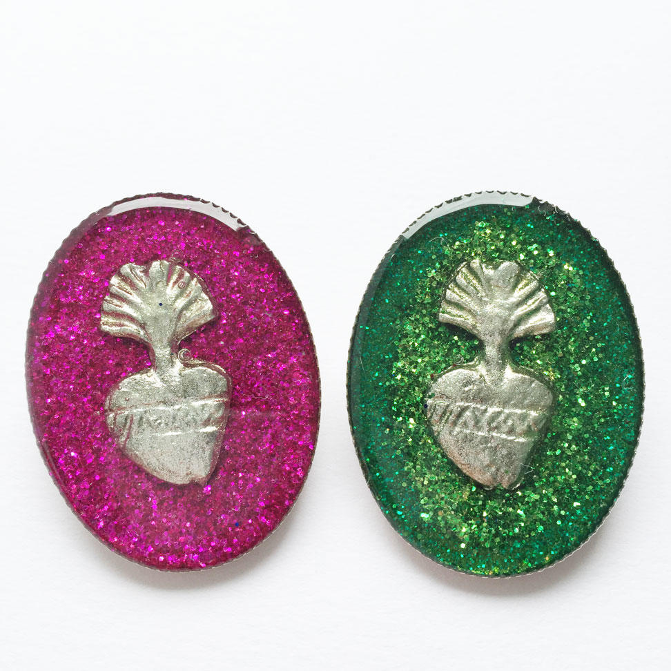Sacred Heart Glittery Brooches