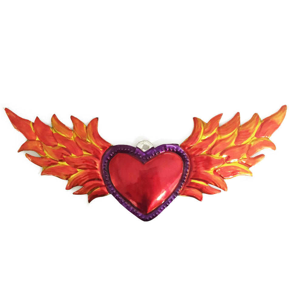 Mexican Tin Painted Flaming Heart Ornament