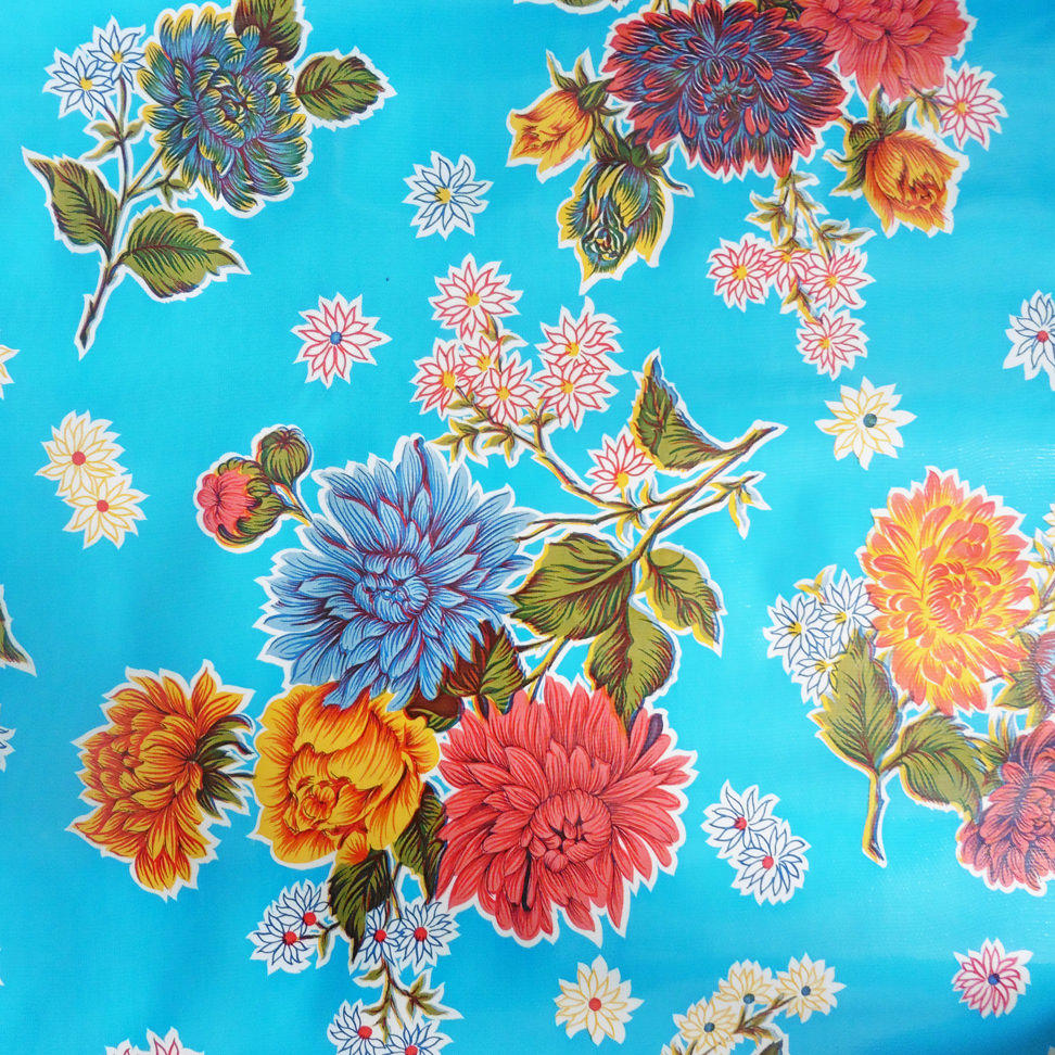 Light Blue Floral Chrysanthemum Oilcloth