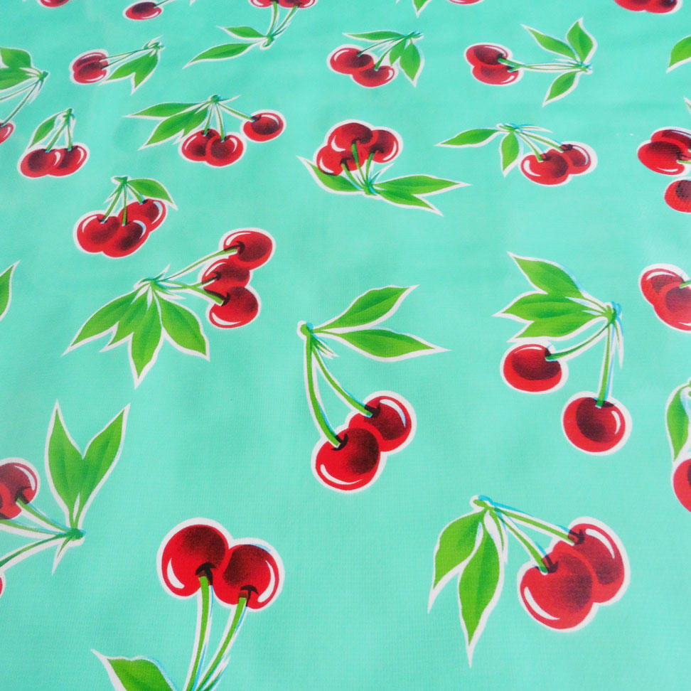 Red Cherry Print on Turquoise Aqua Oilcloth