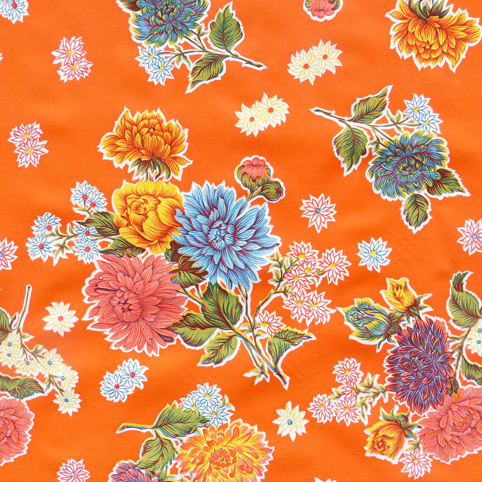 Orange Chrysanthemum Mexican Oil cloth