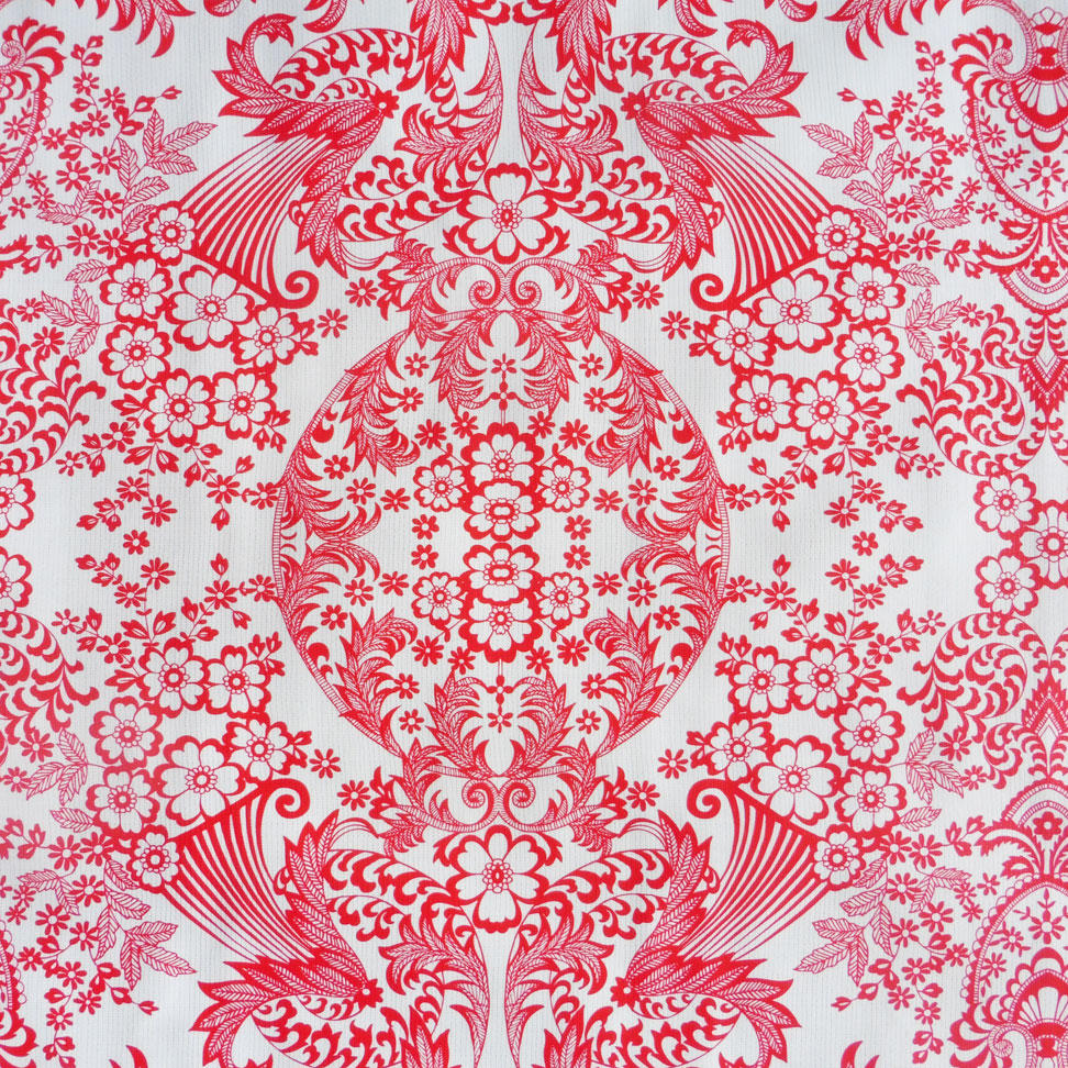 Red Lace Print Oil cloth