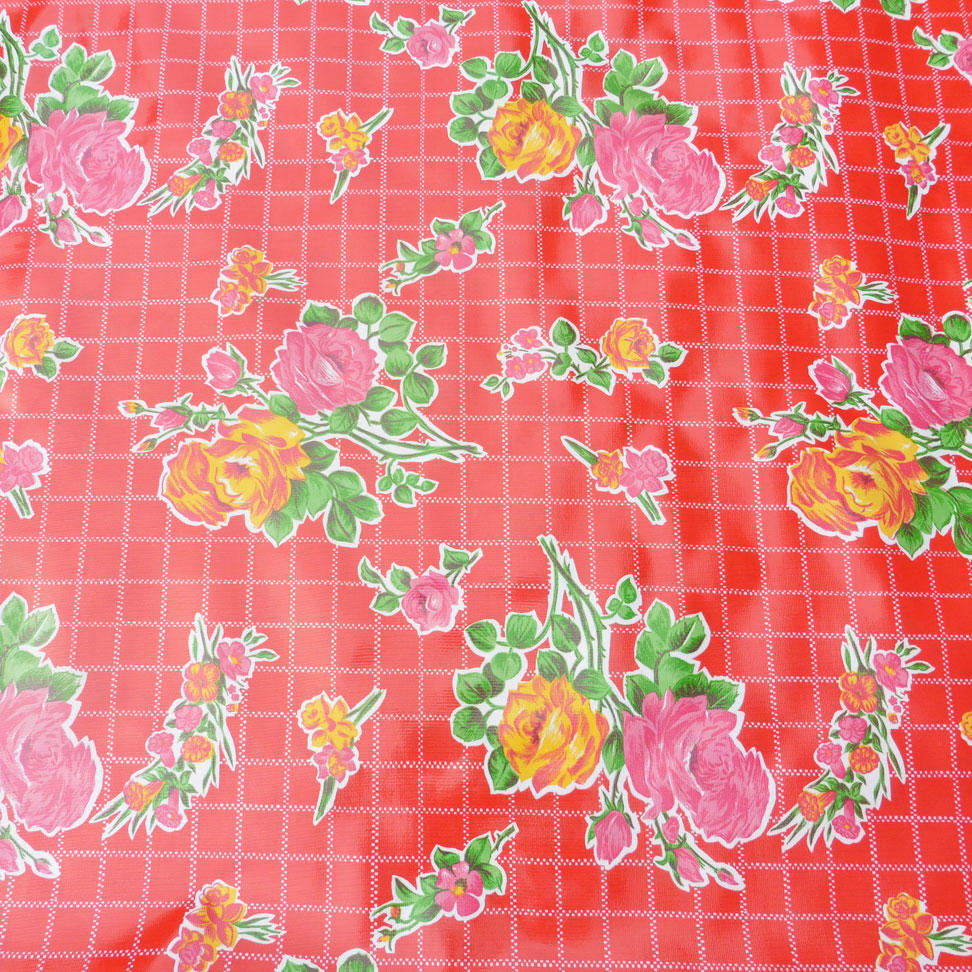 Red Rose Print Mexican Oilcloth