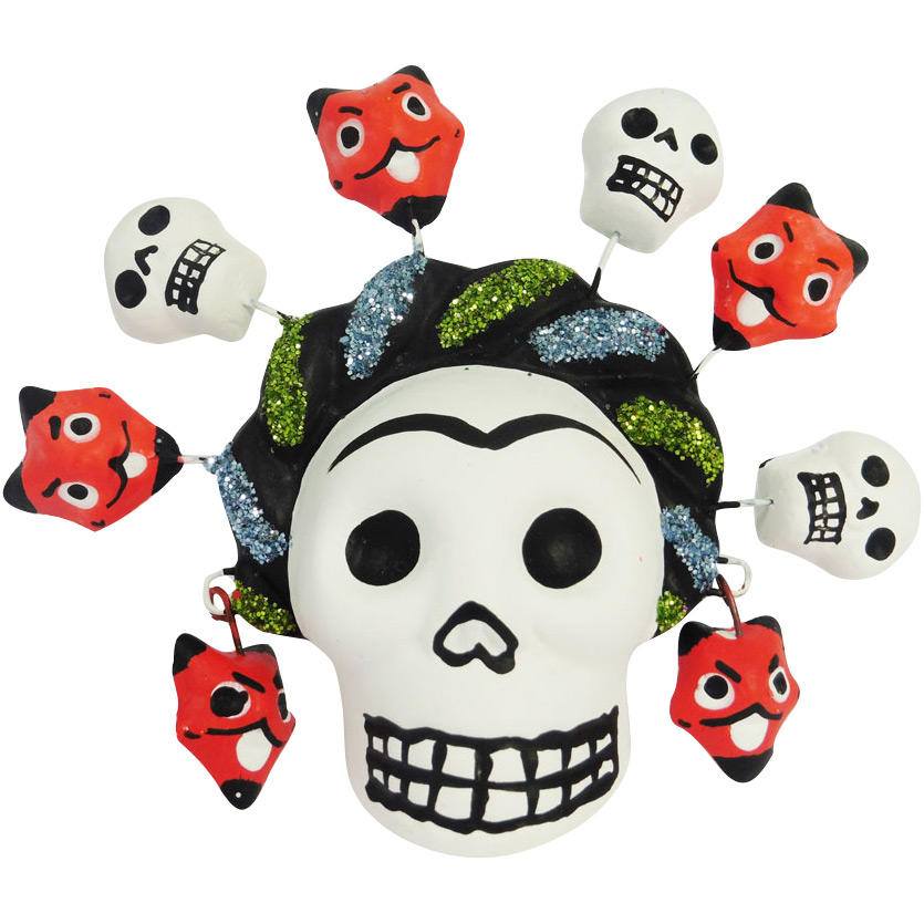 Day of the Dead Glittery Frida Kahlo Skull