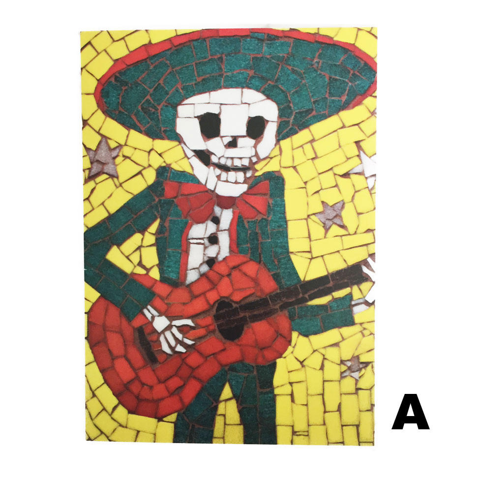Juan Is Dead Greetings Card - Skeleton playing the Guitar
