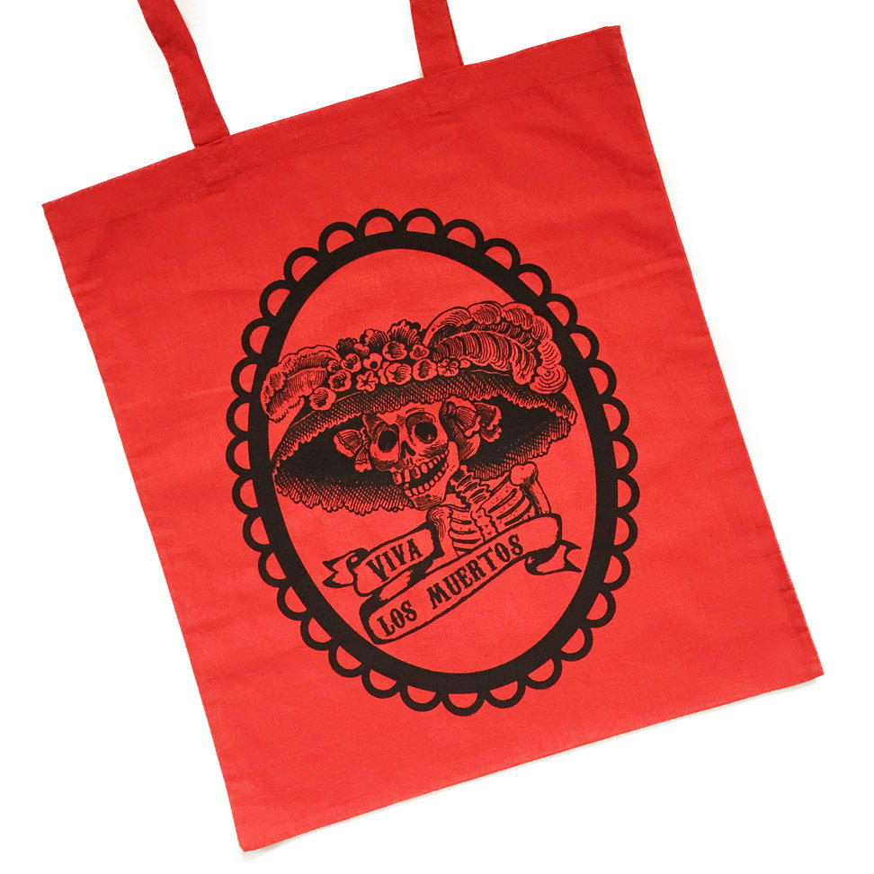 Mexican Day of the Dead Tote Bags - Black on Red Bag