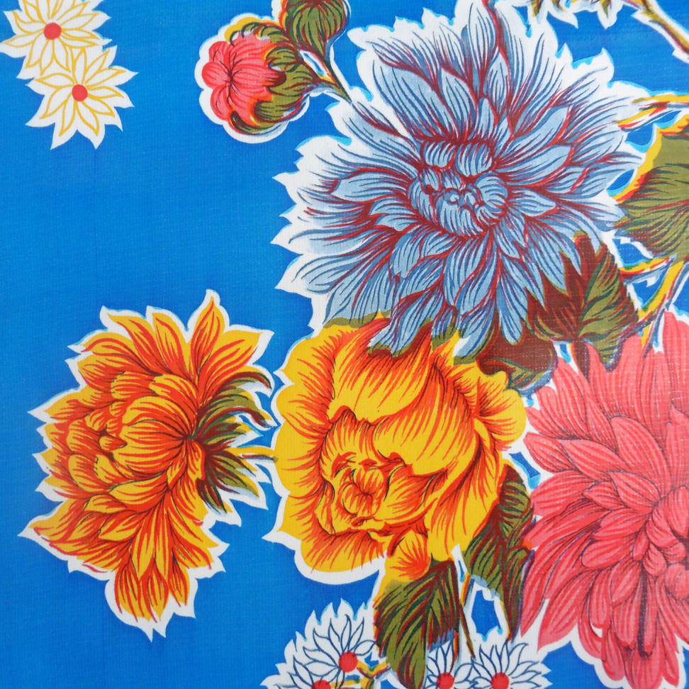 Dark Blue Floral Oil cloth