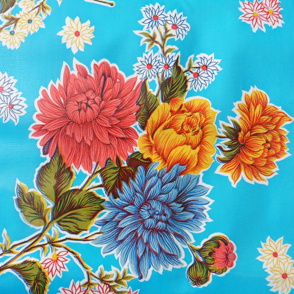 Light Blue Floral Chrysanthemum Oil cloth