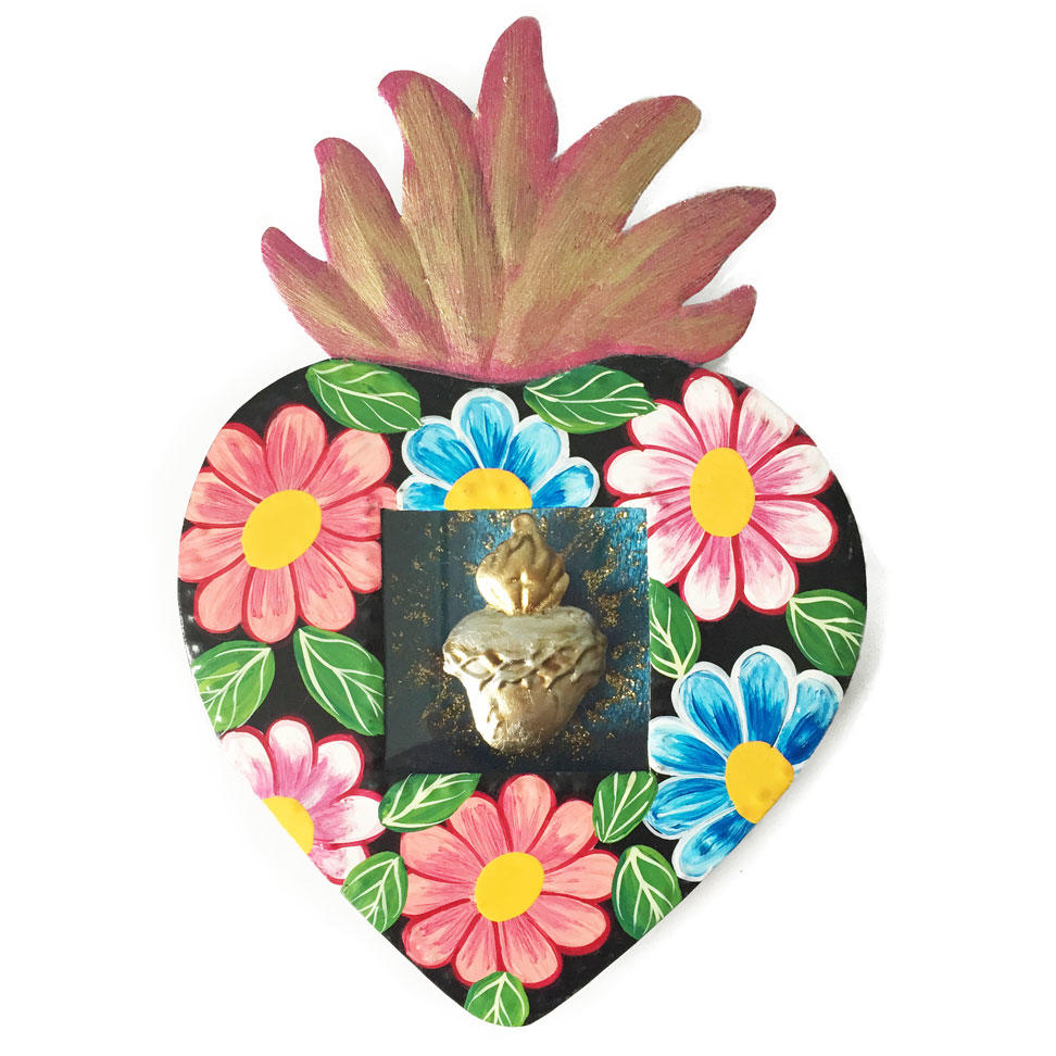 Mexican Tin Heart Shaped Nicho - Black Floral