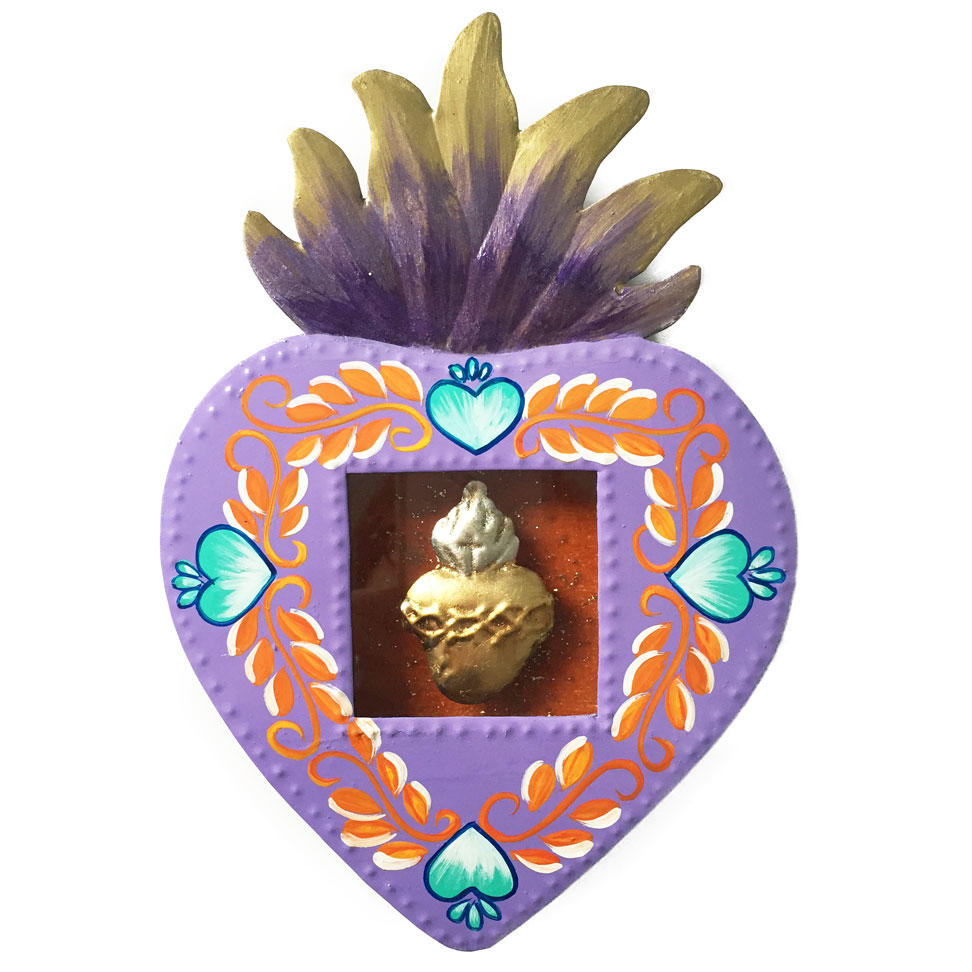 Mexican Tin Heart Shaped Nicho - Lilac Floral