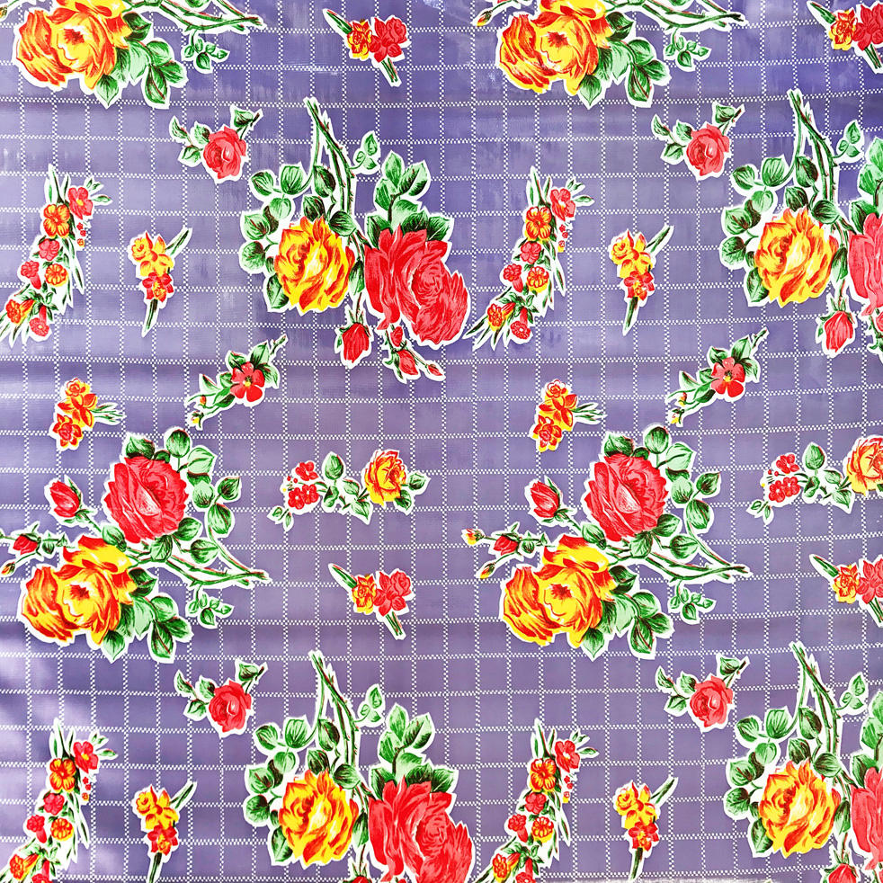 purple floral oilcloth