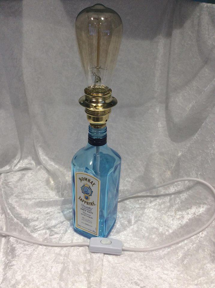 Upcycled Glass Bottle Table Lamp Bombay Sapphire Gin