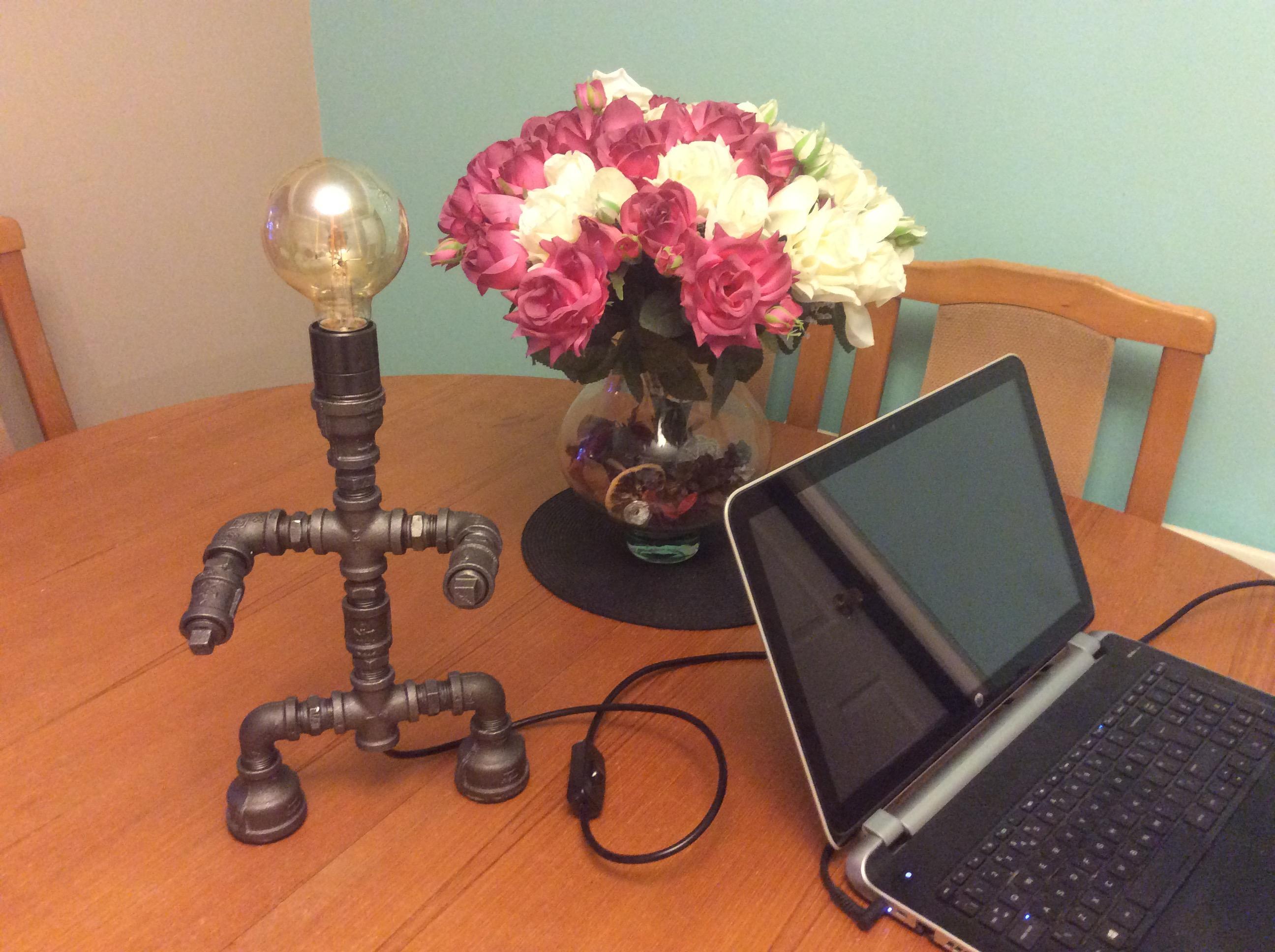 Retro Steel Pipe Table Desk Lamp Man Of