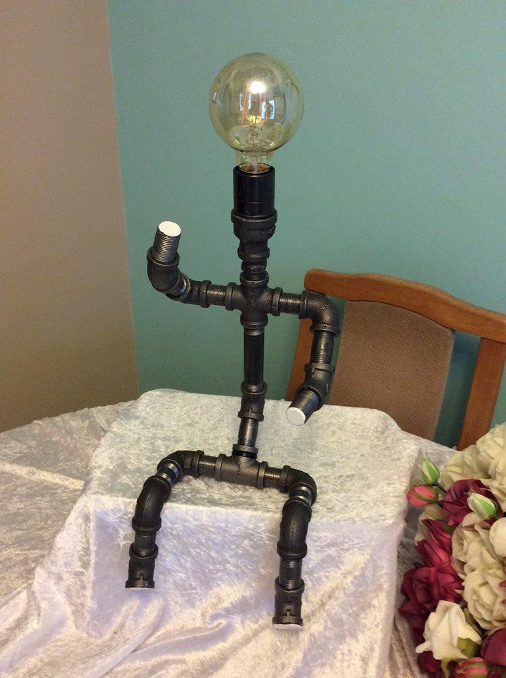 Retro Steel Pipe Table Desk Lamp Iron Man Sitting