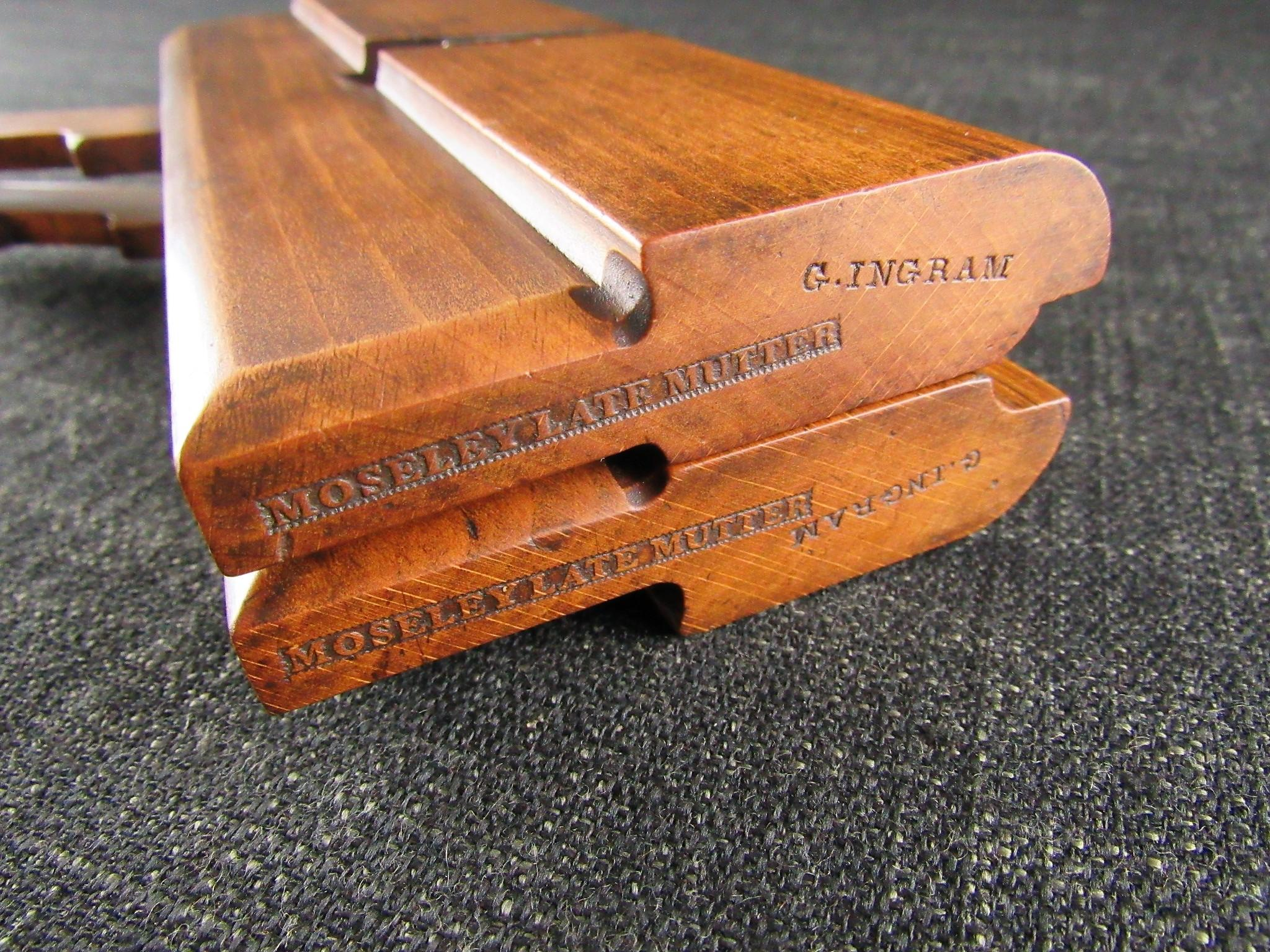 Scarce Early Pair of MOSELEY LATE MUTTER Wooden Side Round Moulding Planes