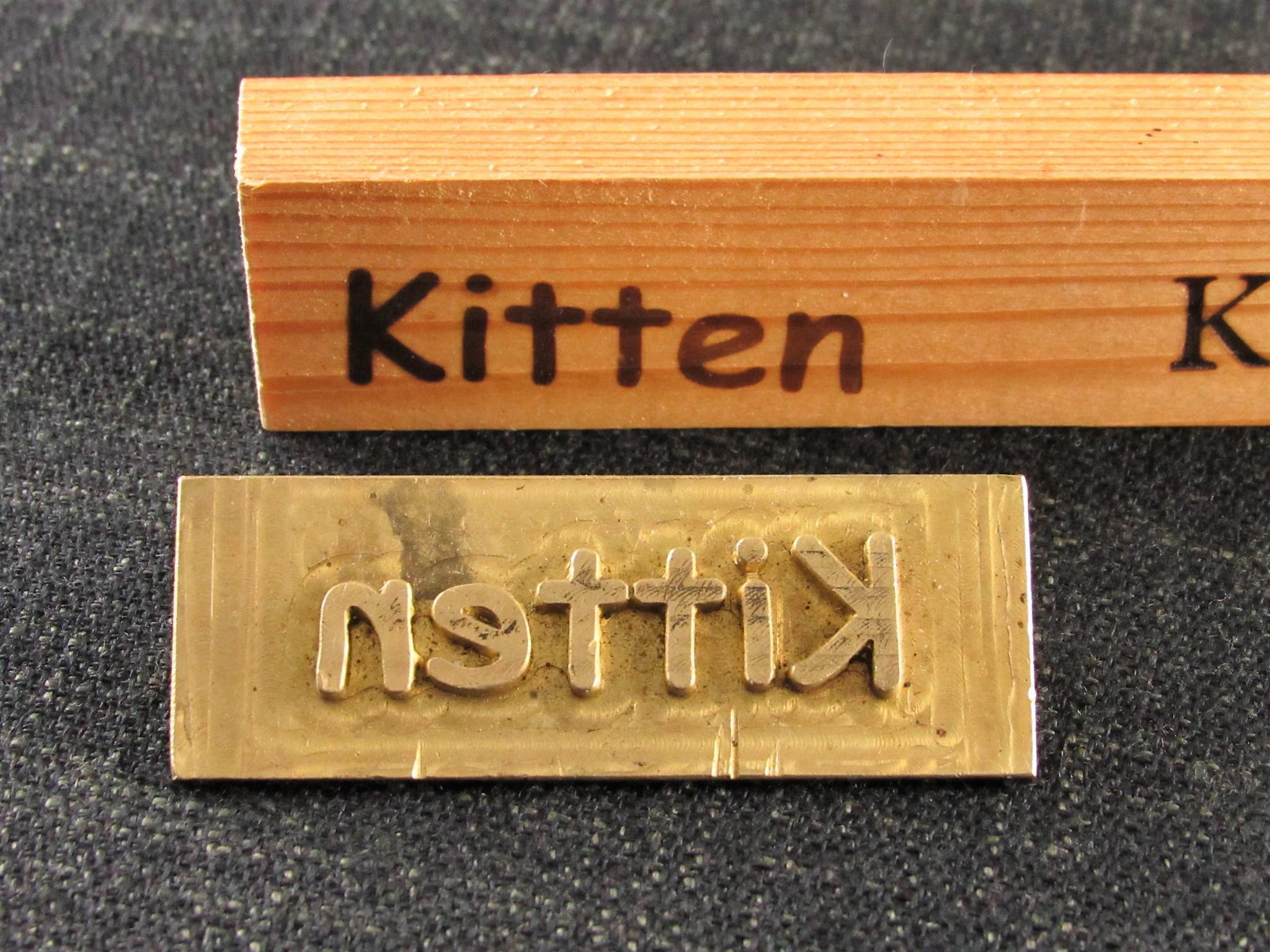 3 Brass Embossing Stamps from a Norfolk Shoe Factory - Kitten - KIKI - Pure