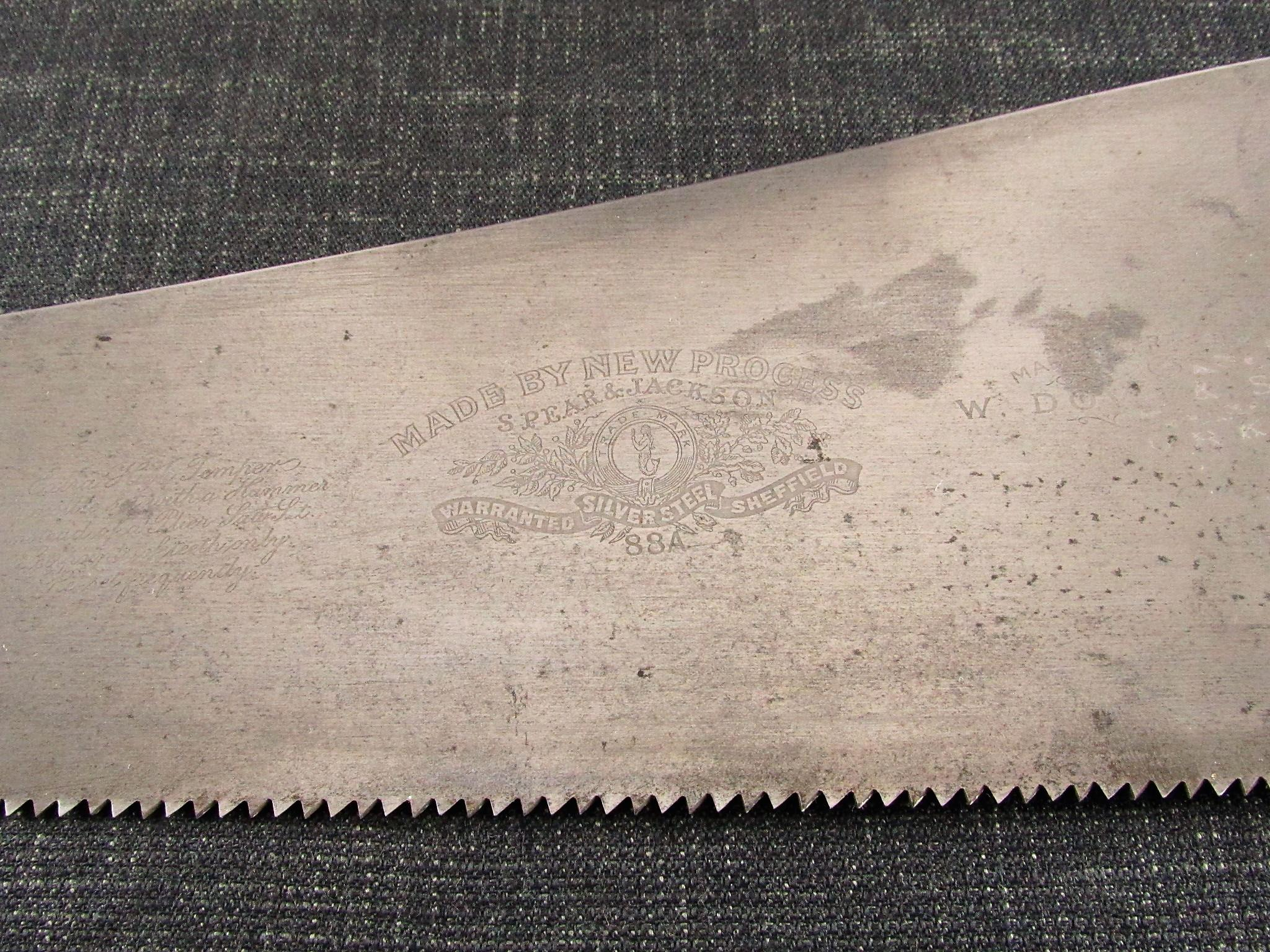 SPEAR & JACKSON 88 A Rip Cut Panel Saw for W DOVE & SONS - 26 inch Silver Steel