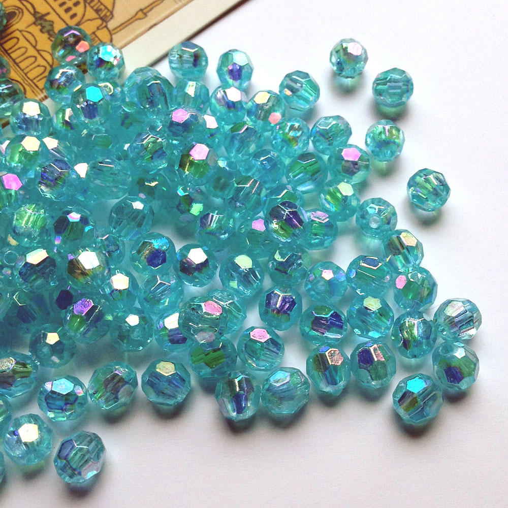 25 iridescent pale blue faceted 5x4mm acrylic