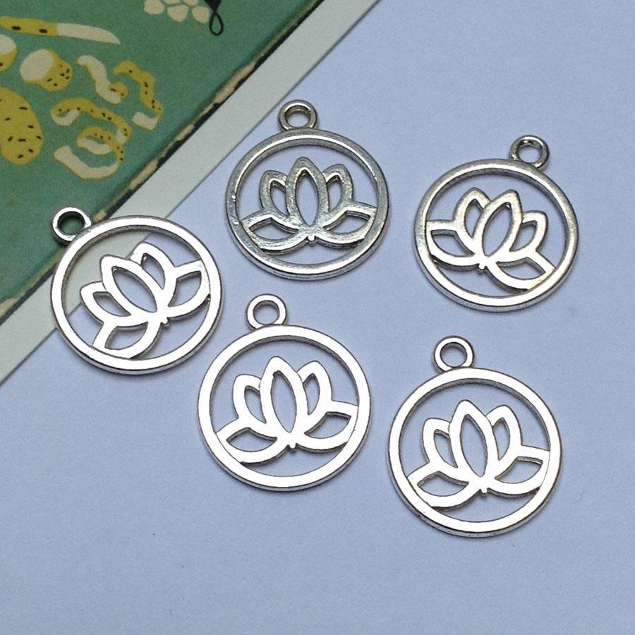 Silver Tone Lotus Flower Charms