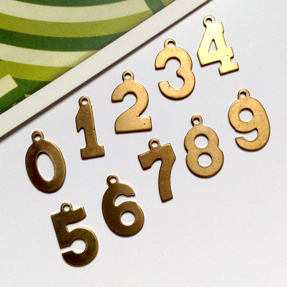 10 Vintage Brass Number Charms 0 9