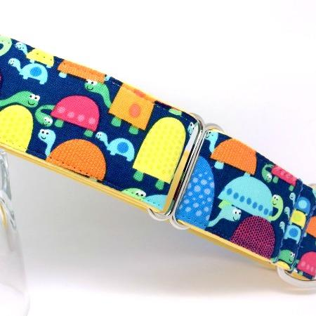 turtle dog collar, blue, green, yellow, orange