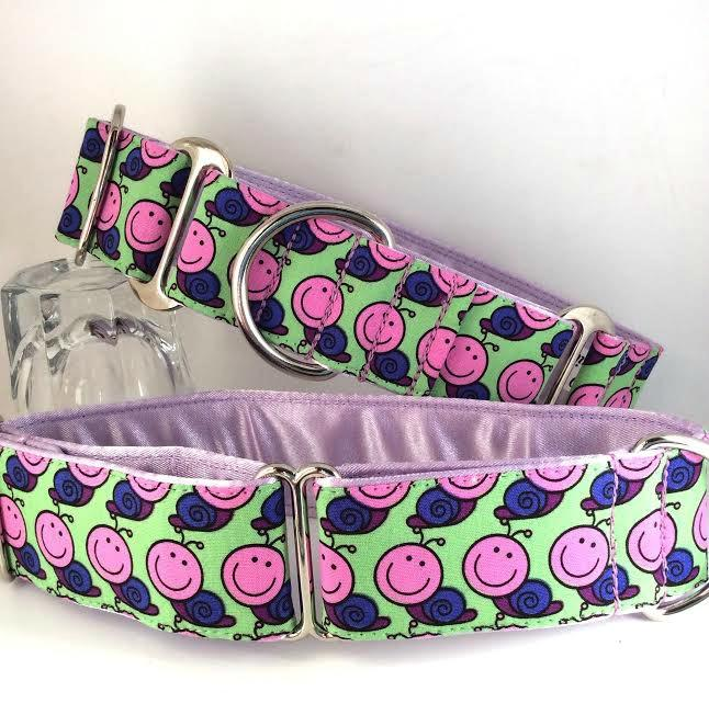 Greyhound can collar, snails, Lilac, Martingale