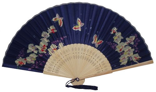 blue chinese silk fan decorated with gold oriental blossom and flowers