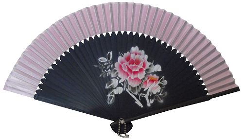 Chinese Hand Held Fan With Pink Silk Fabric And Painted