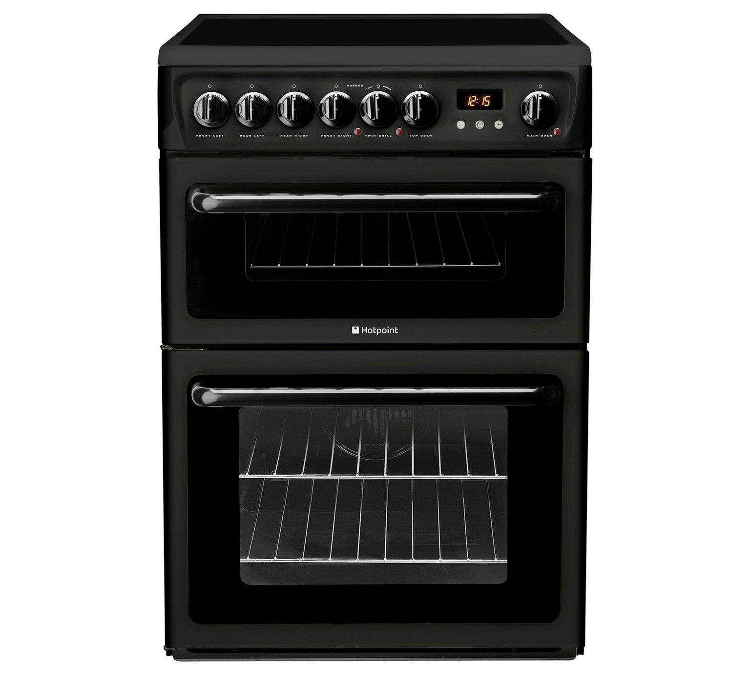 Hotpoint Hae60ks Double Electric Cooker Black