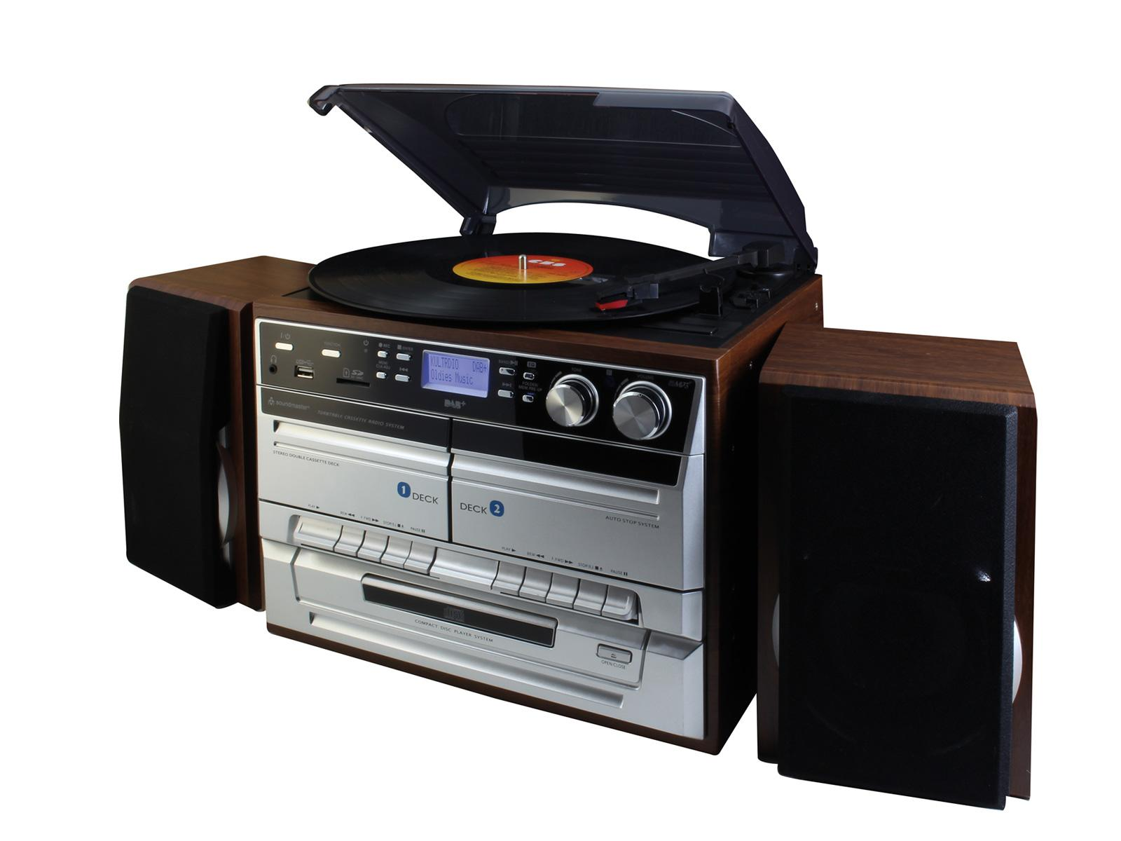 soundmaster MCD5550 HiFi System with Bluetooth, FM / DAB Radio, Twin  Cassette, CD & Record Player Turntable
