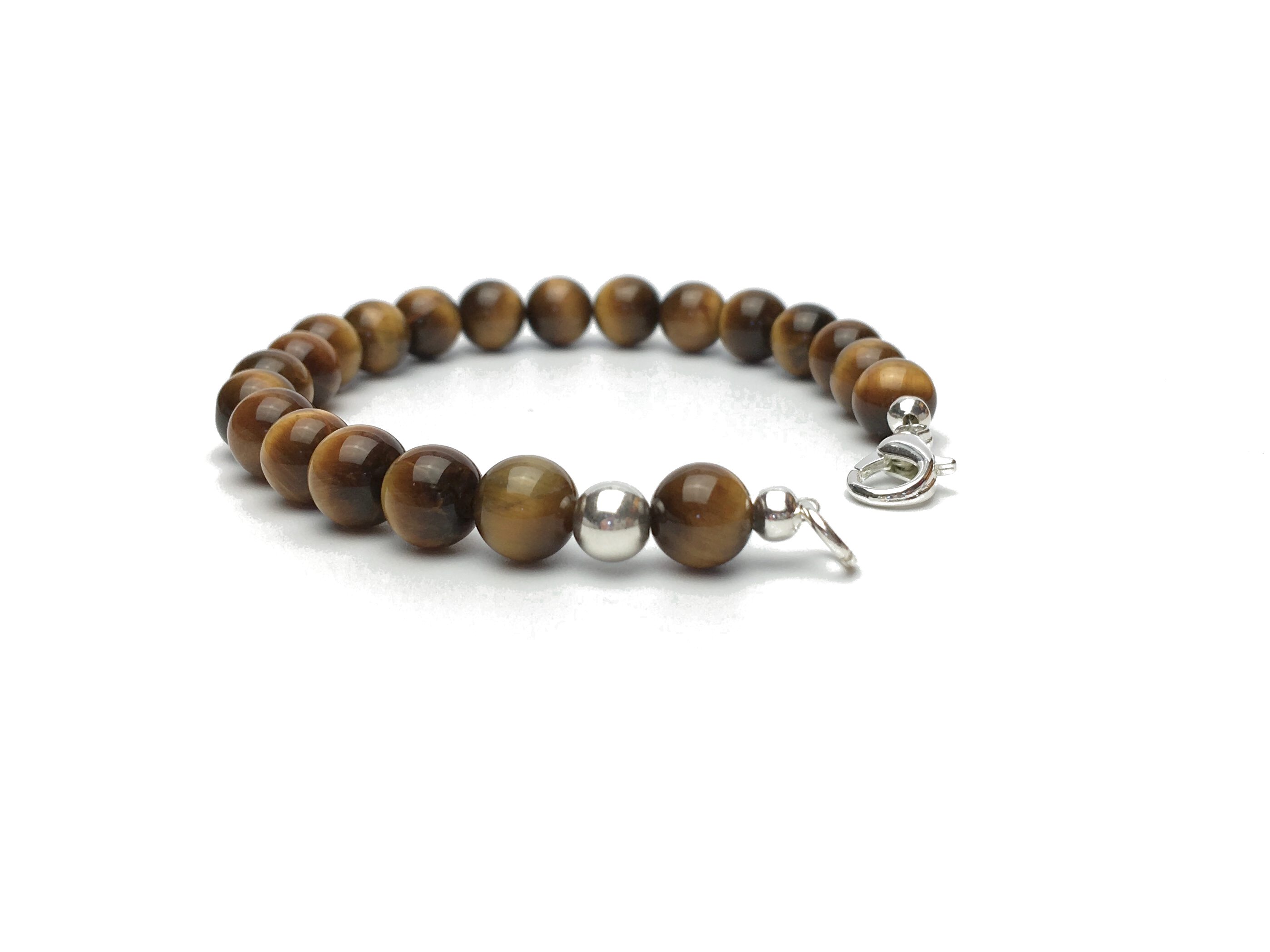 Grade A Tigers Eye Bead Bracelet with Silver Clasp