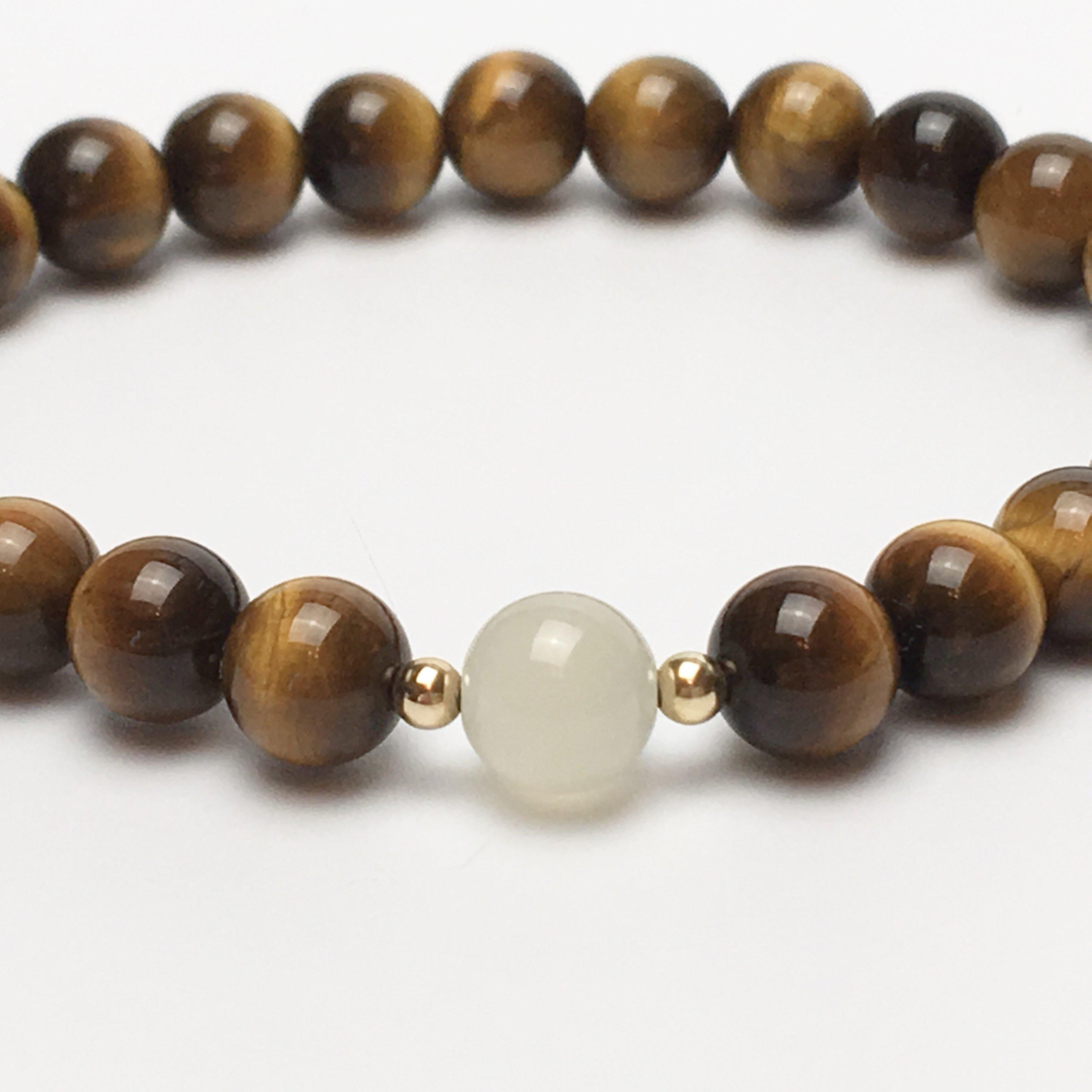 Grade A Tigers Eye and Moonstone with 9ct Gold.
