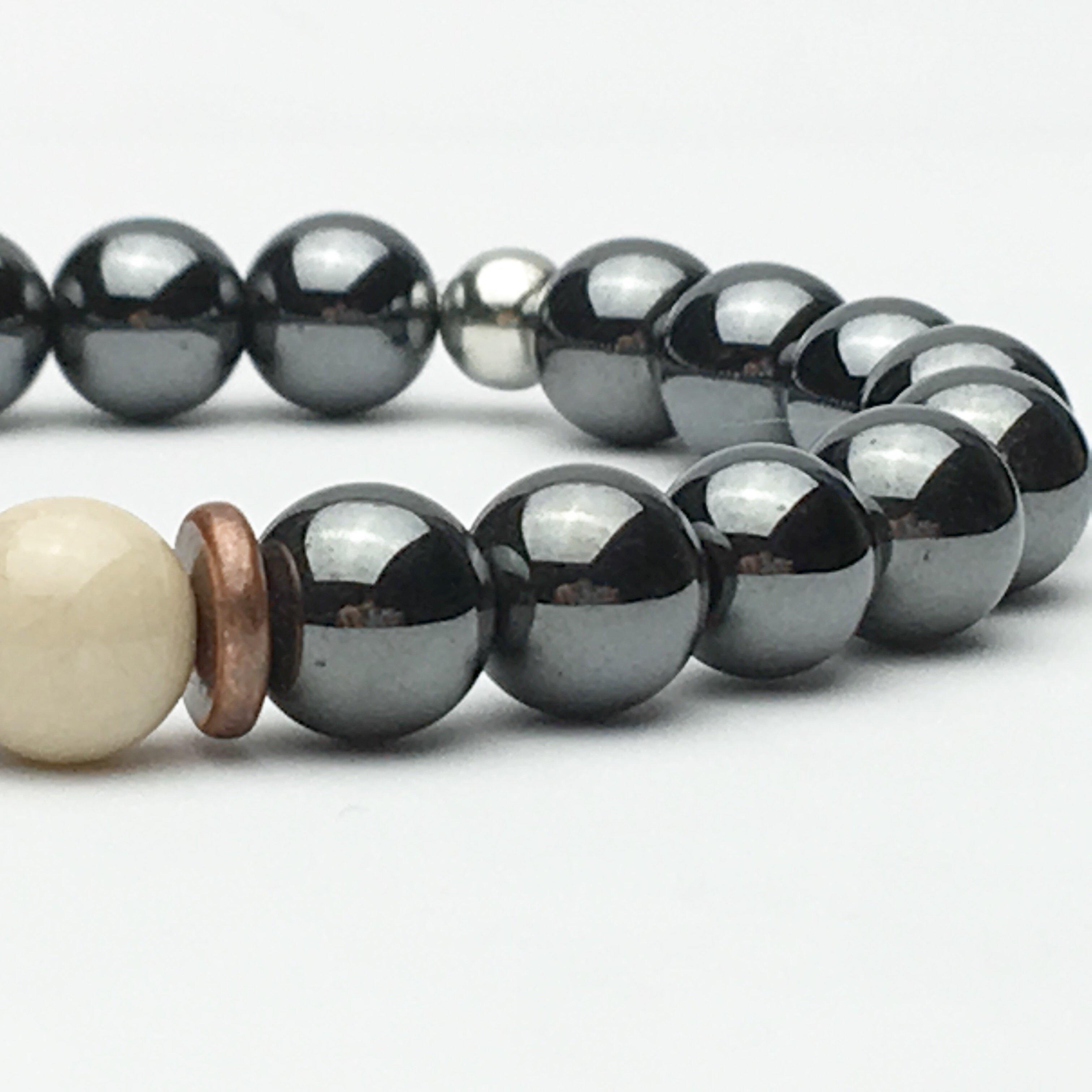 Fossil Stone and Hematite Bead Bracelet