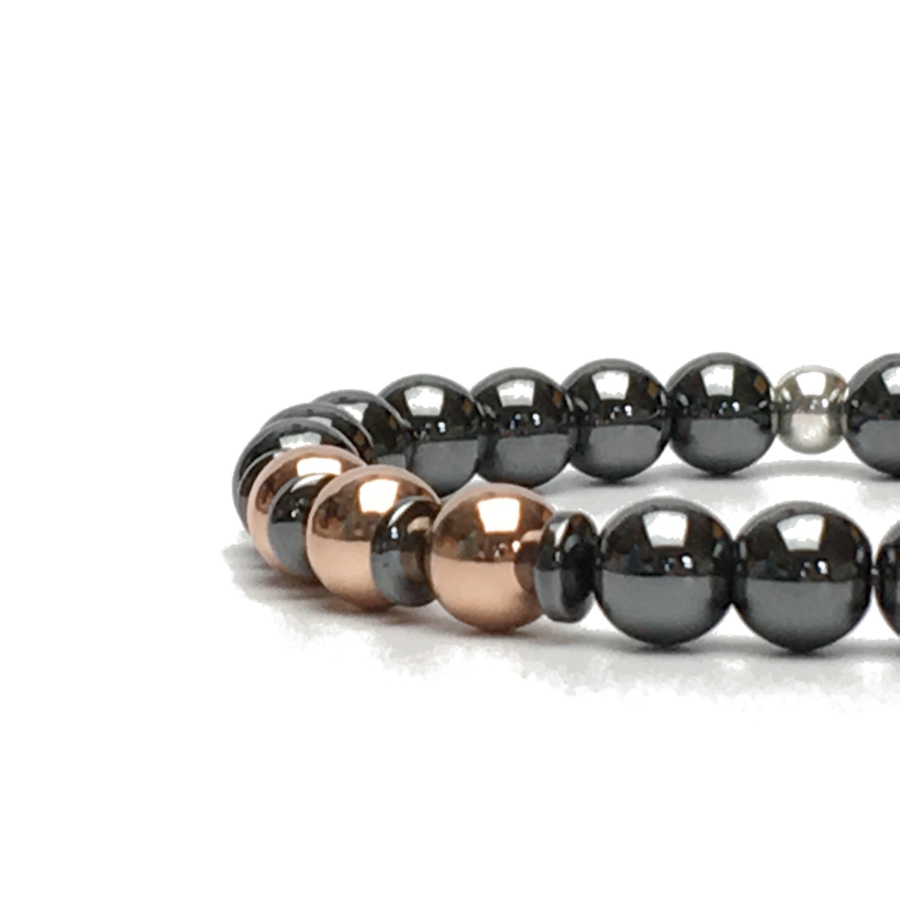 Hematite and Rose Gold Colour Stylish Bracelet