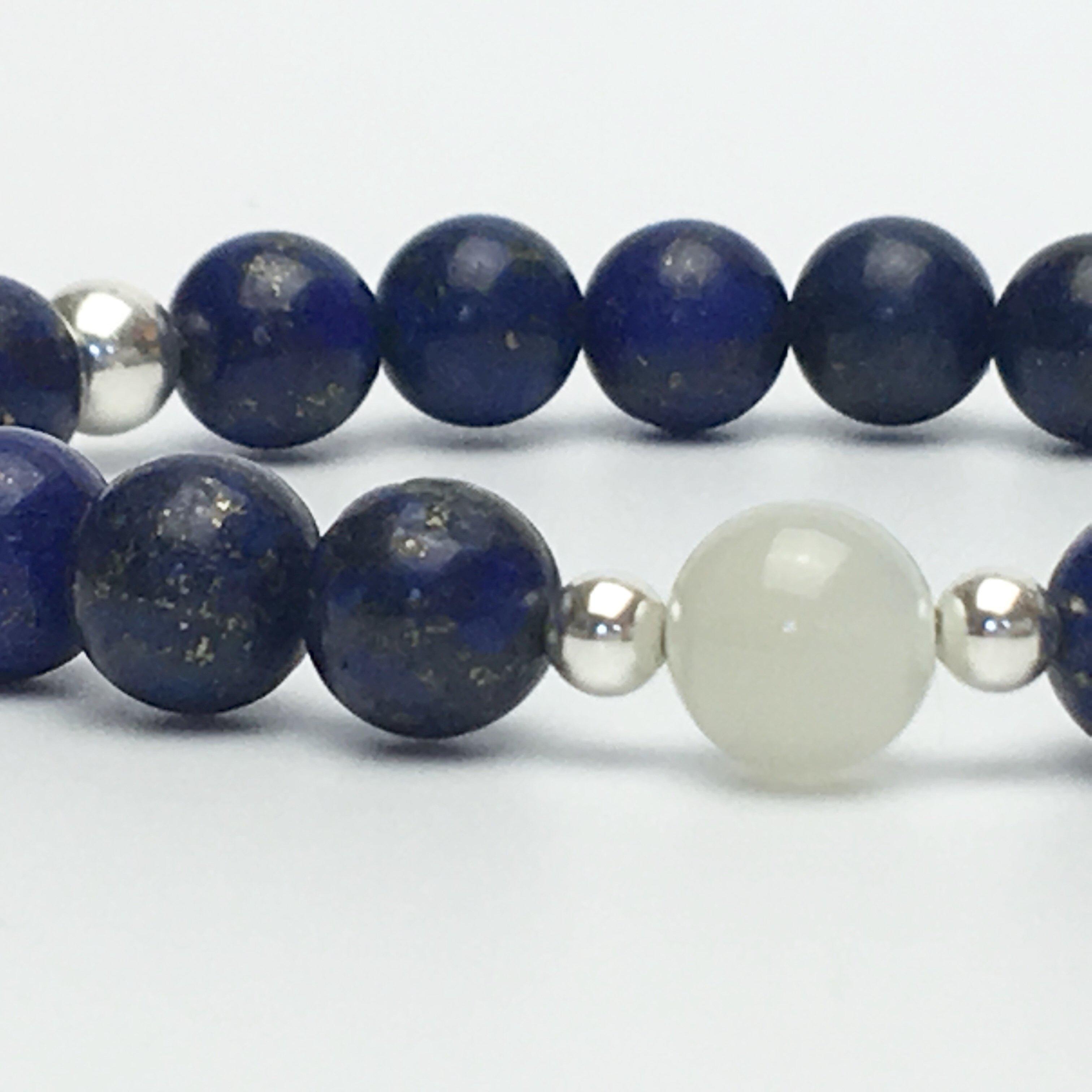 Grade A Lapis Lazuli and Moonstone Bead Bracelet