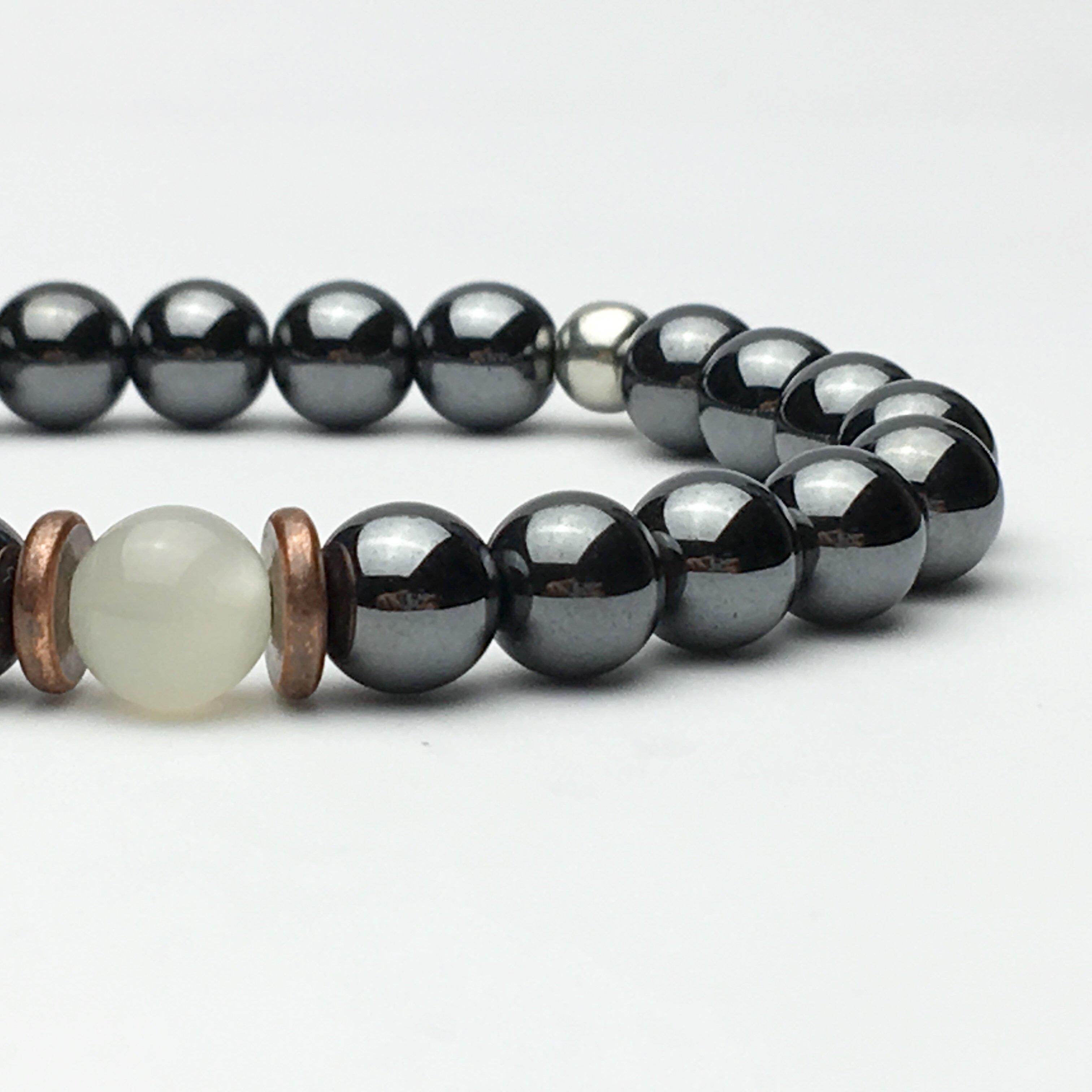 Hematite and Moonstone Beaded Bracelet