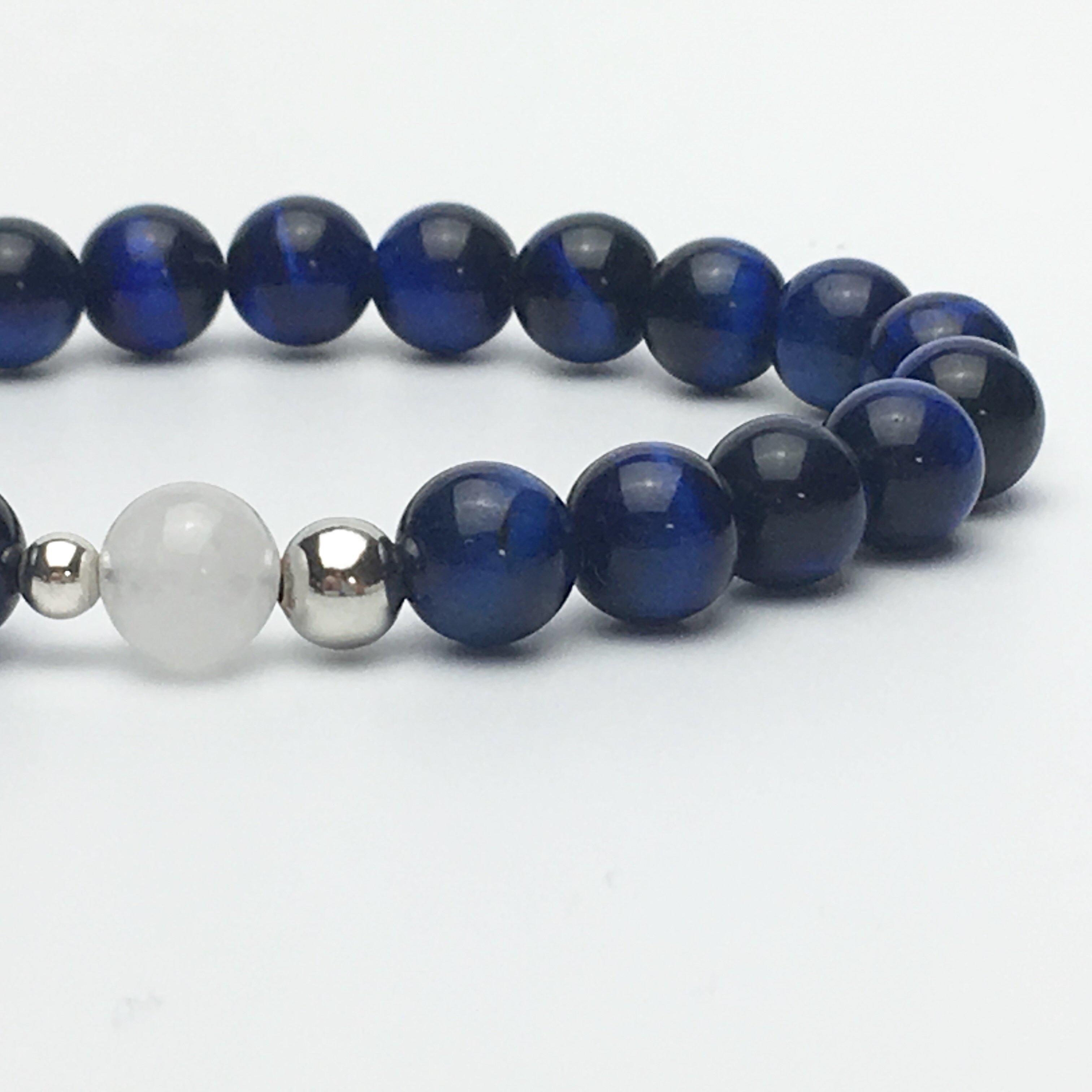 Blue Tigers Eye and White Jade Bead Bracelet