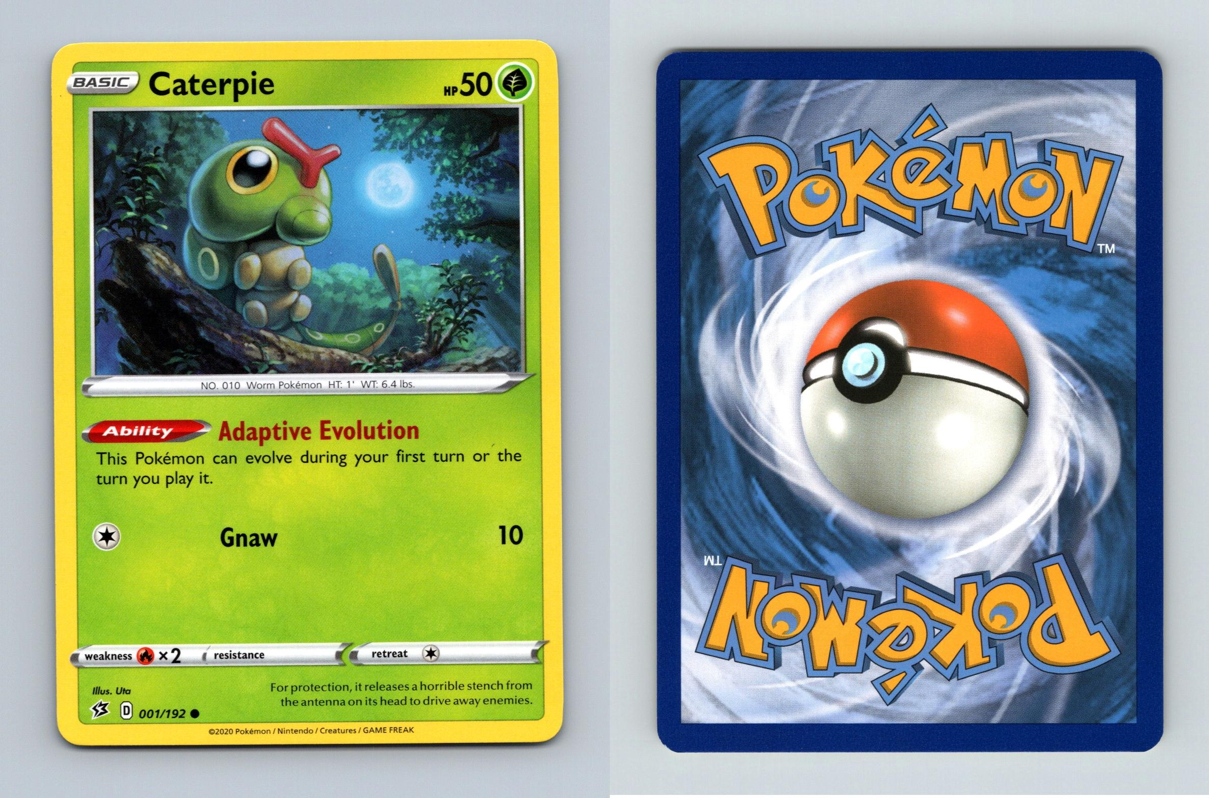 001//192 CaterpieCommonPokemon Trading Card Game Sword /& Shield Rebel Clash