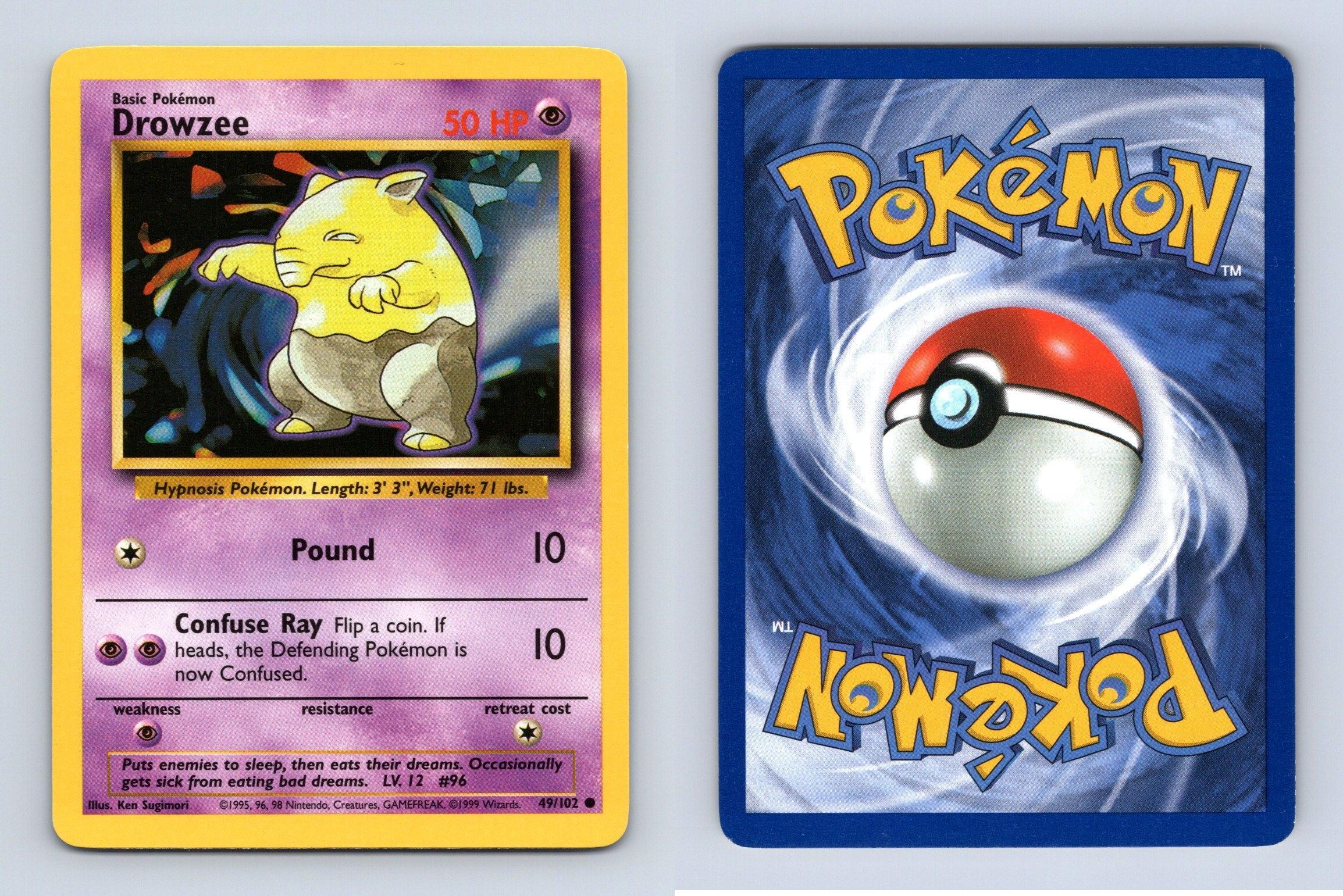 Drowzee #49//102 Base Set Common Pokemon 1999 TCG Card
