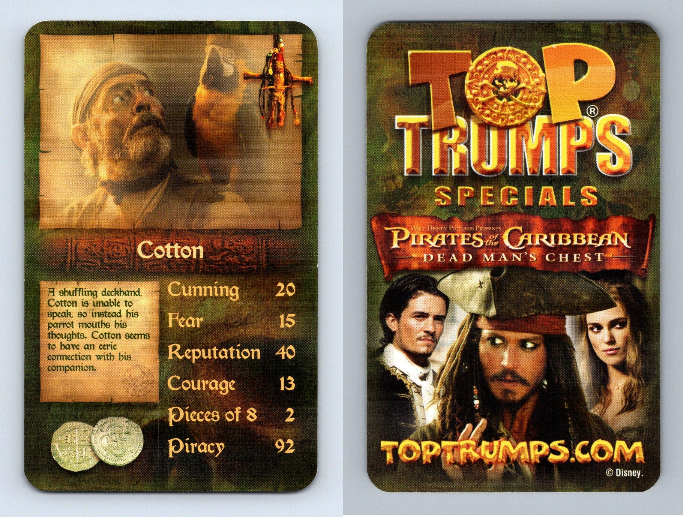 Cotton Pirates Of The Caribbean Dead Man S Chest 2006 Top Trumps Card