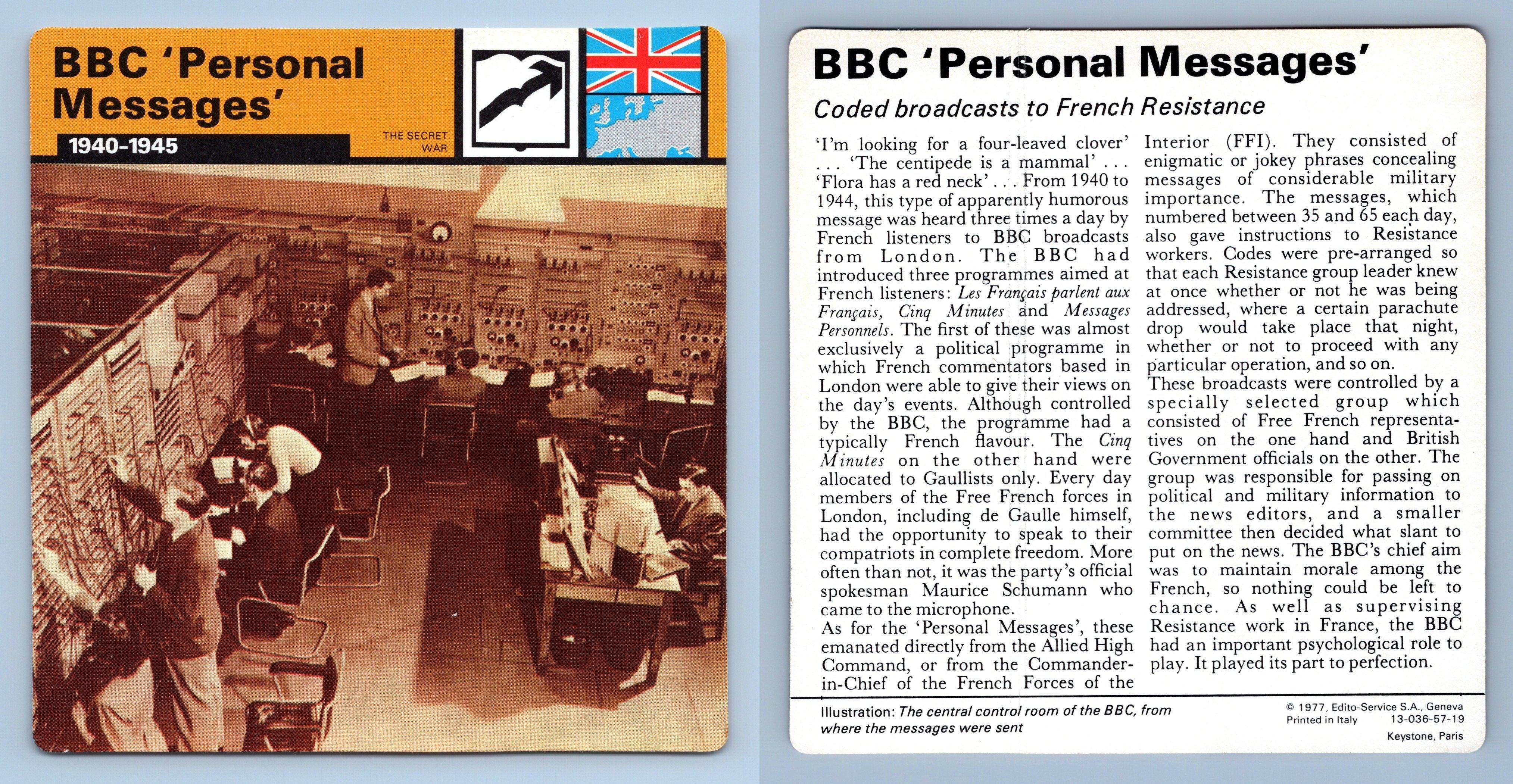 1939-45 WW2 Edito-Service SA 1977 Card ASDIC Secret War