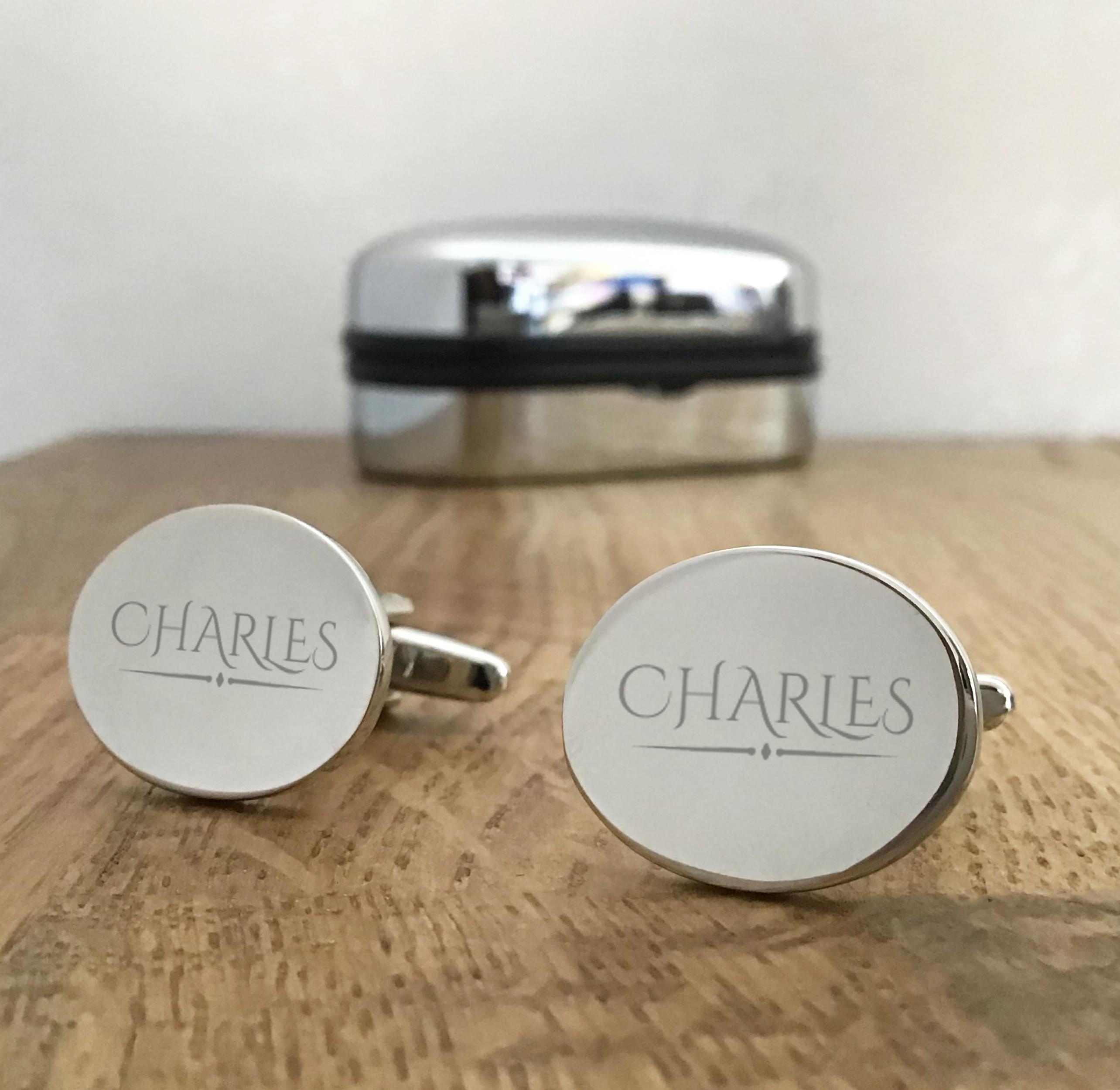 Personalised Stylish Square Chunky Gold Cufflinks /& Black Gift Box Engraved Gift