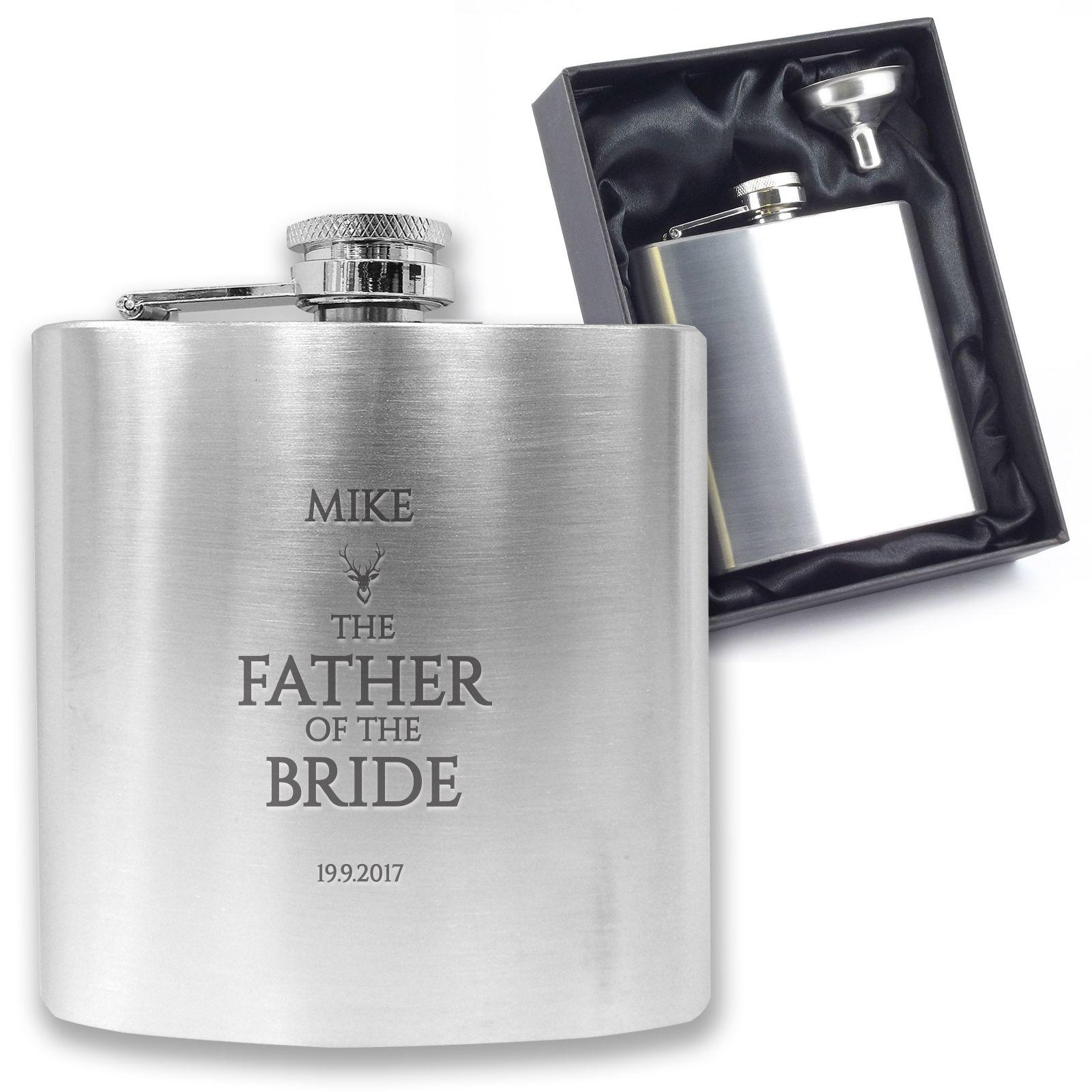 Father of the Groom Silver Aluminium Keepsake Hip Flask Wedding Favour