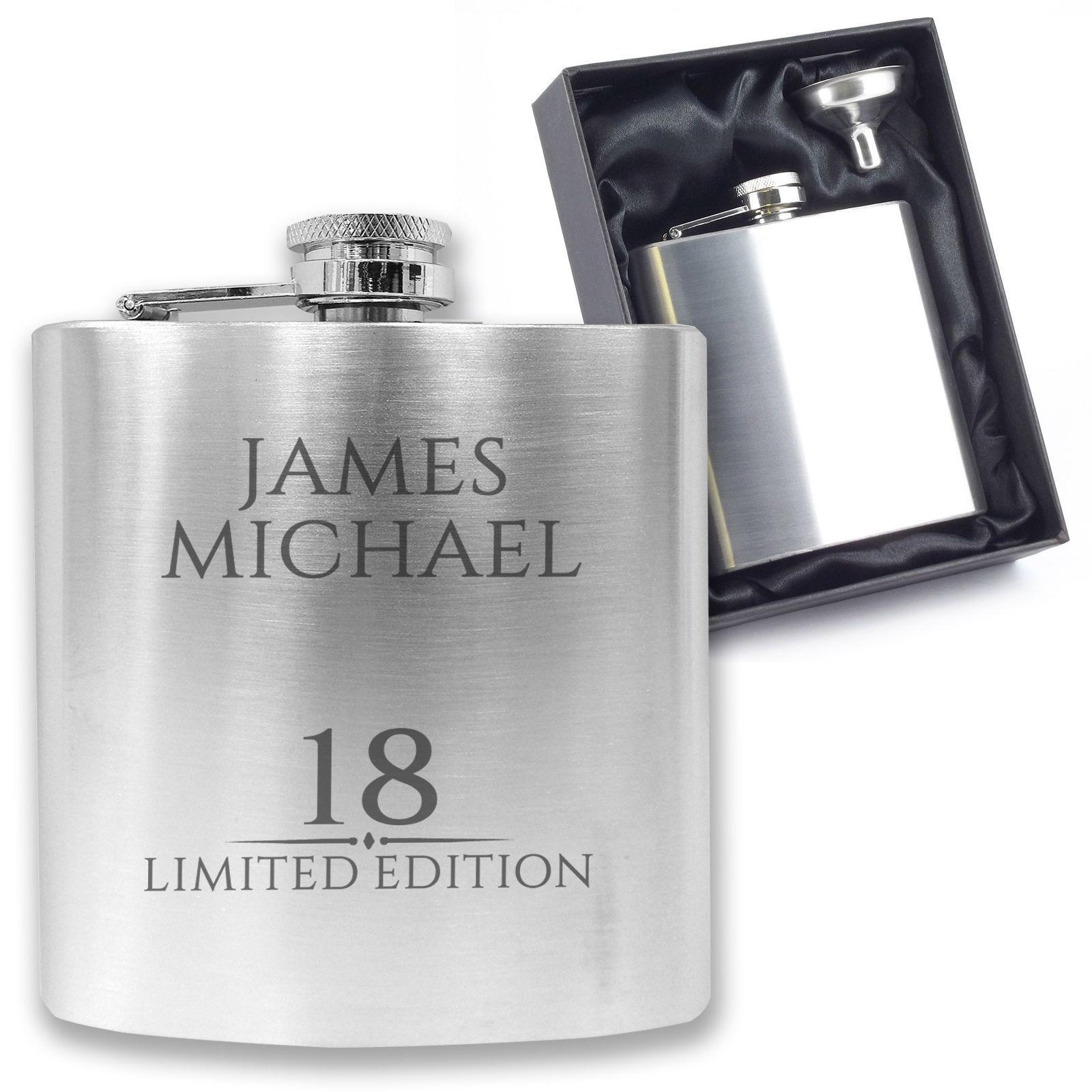 Engraved//Personalised *Established Birthday Design* Hip Flask in Silk//Satin Gift Box