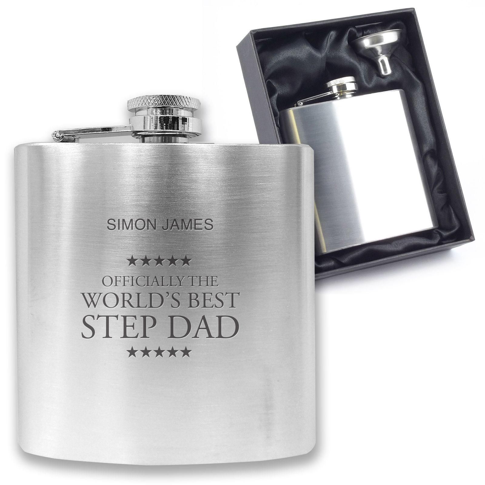 Fathers Day Personalised Engraved Stainless Steel 6oz Hip Flask,Funnel+Gift Box