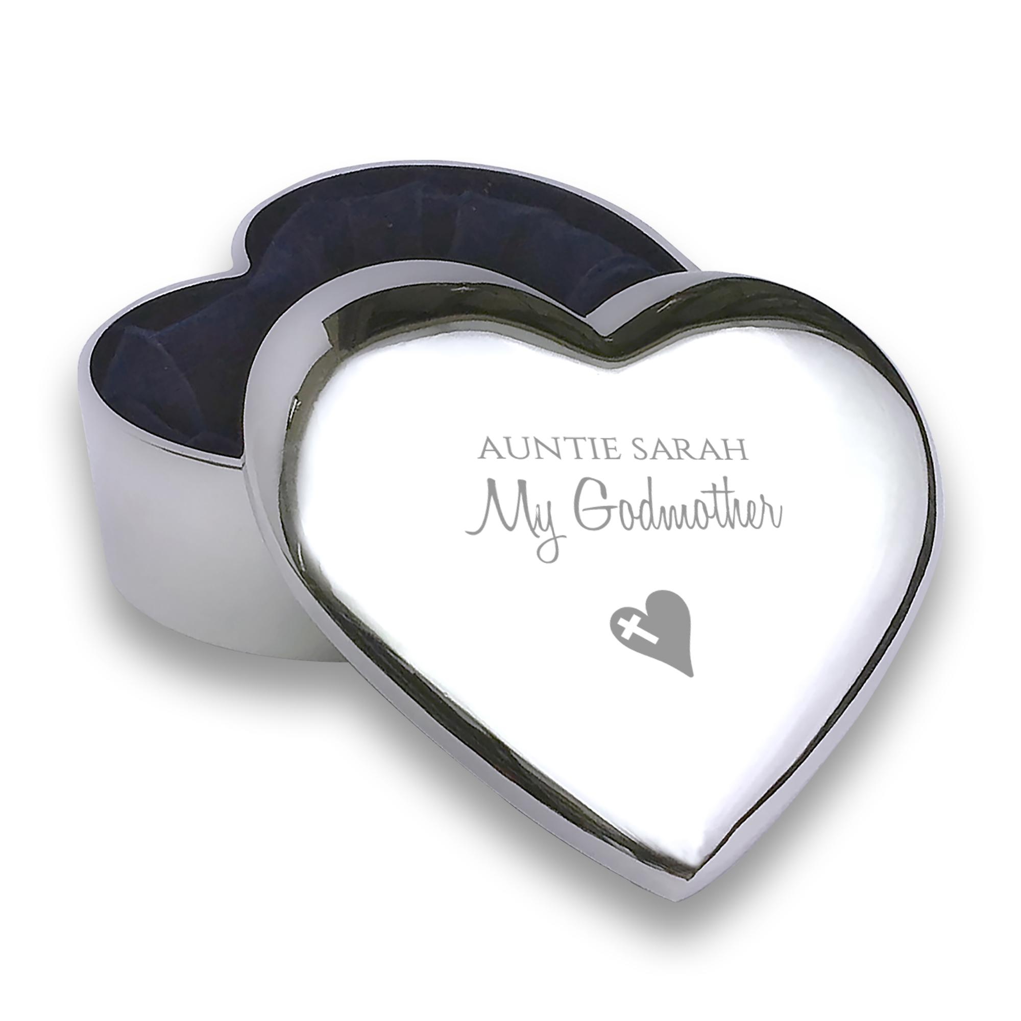 Personalised Engraved Godmother Heart Trinket Box Christening Baptism Gift Idea