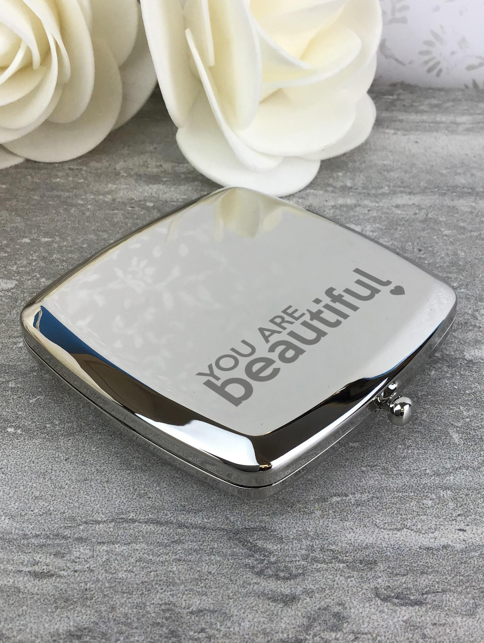 Engraved Silver Plated Compact Mirror